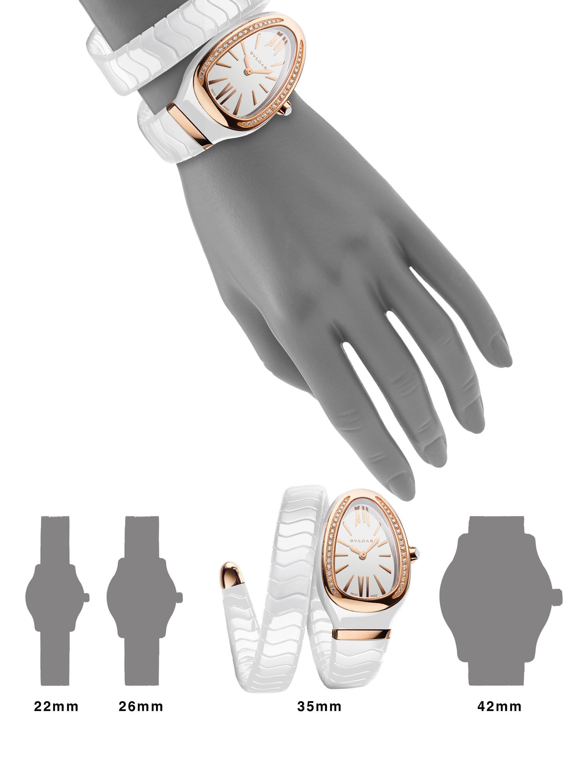 ad8007041f417 BVLGARI Serpenti Spiga Rose Gold, White Ceramic & Diamond Single ...