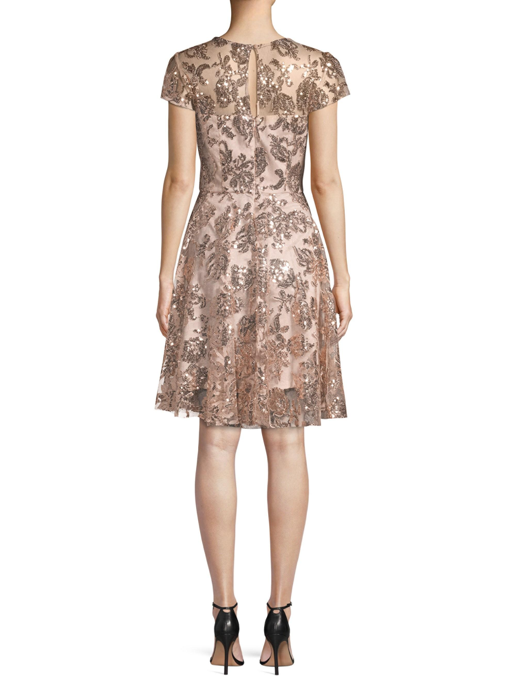 9c66aec888e Lyst - MILLY Women s Sequin Embroidered Cocktail Dress - Rose Gold ...