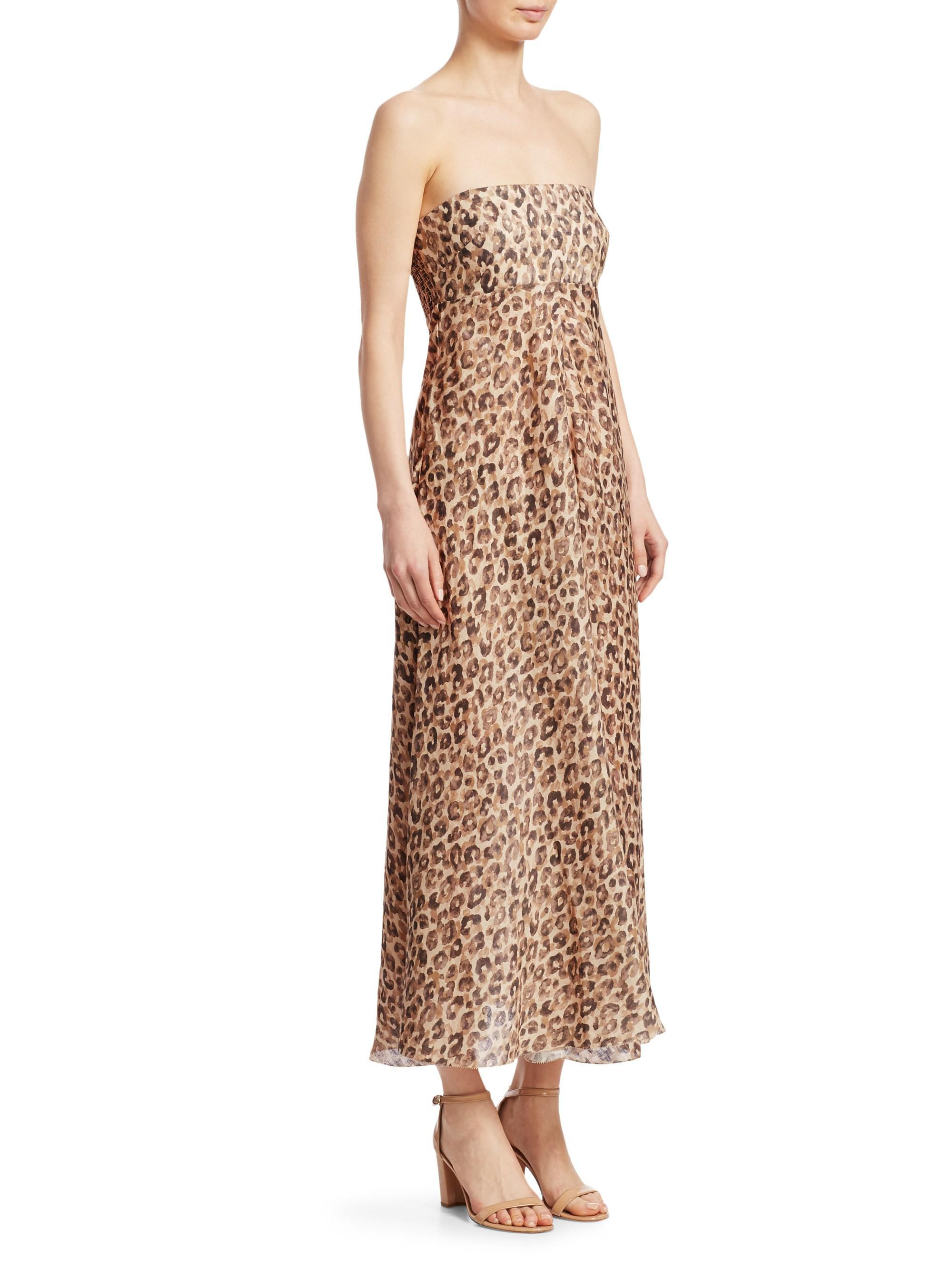 Melody Leopard Strapless Maxi Dress