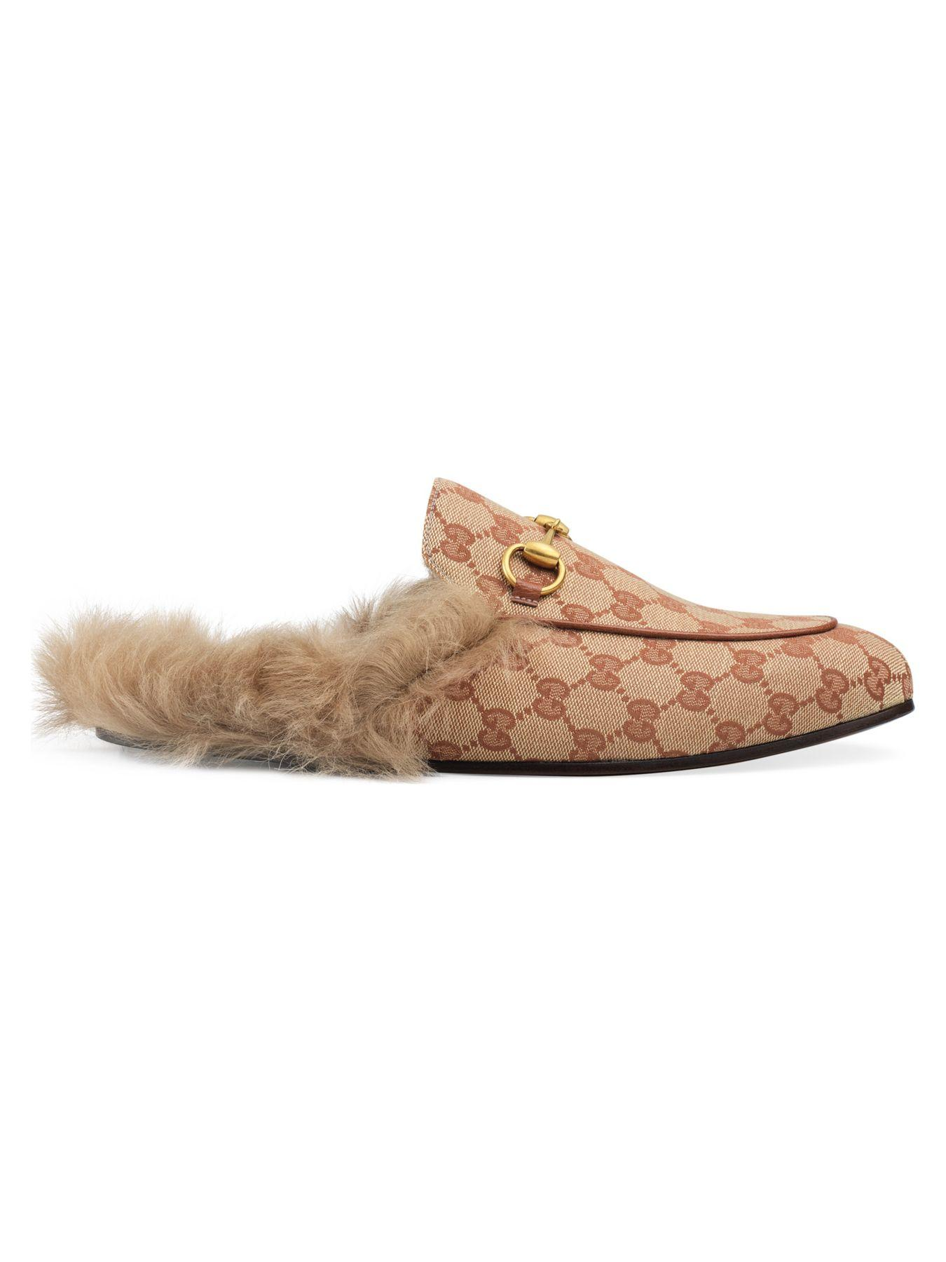 Gucci Men S Princetown Fur Lined Gg Canvas Slippers In Rust Natural Brown For Men Lyst