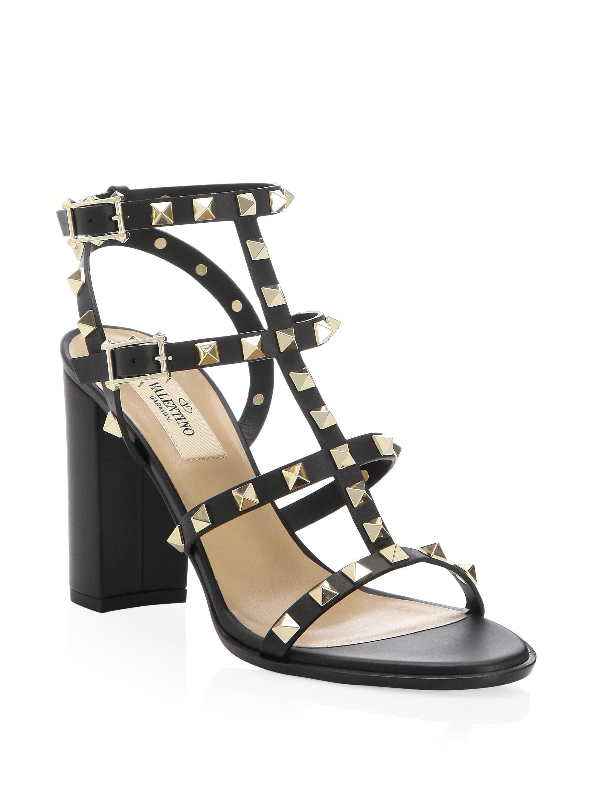 133a0ac18b3 Valentino - Black Rockstud Leather T-strap Block Heel Sandals - Lyst. View  fullscreen