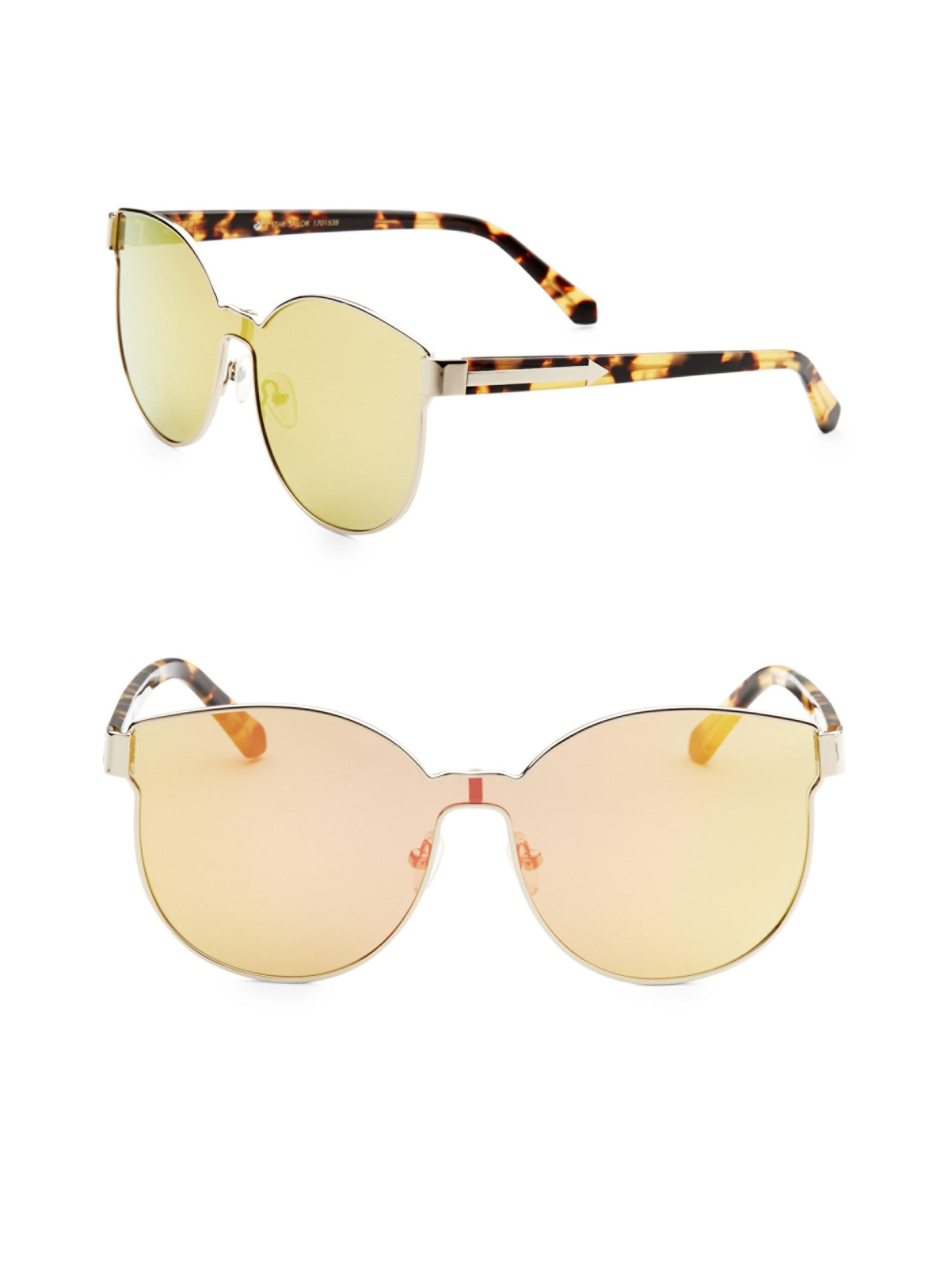 Star Sailor Round-frame Gold-tone And Acetate Mirrored Sunglasses - Yellow Karen Walker