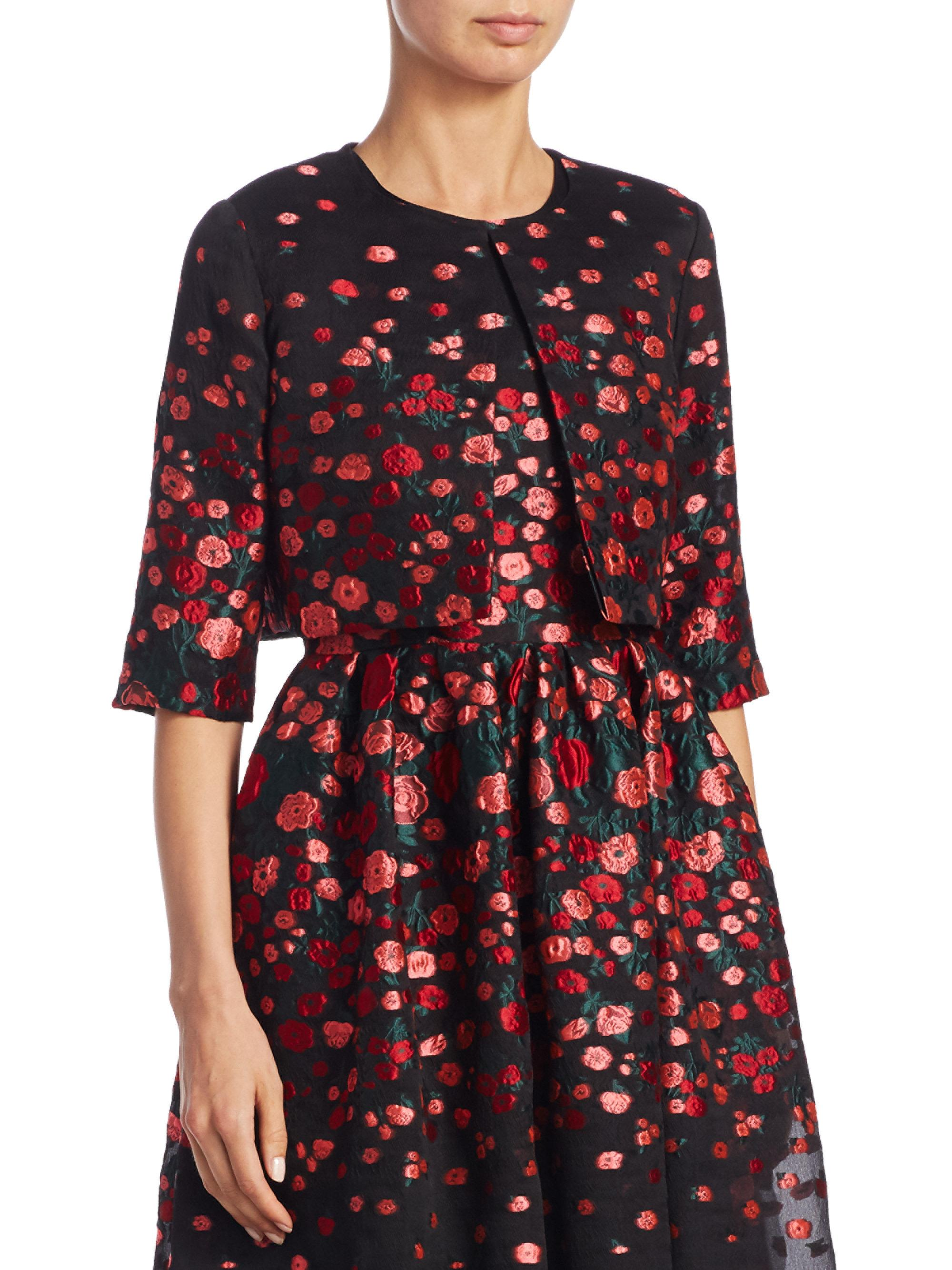 0124188226c1e Lela Rose Cropped Floral Silk Jacket in Black - Lyst