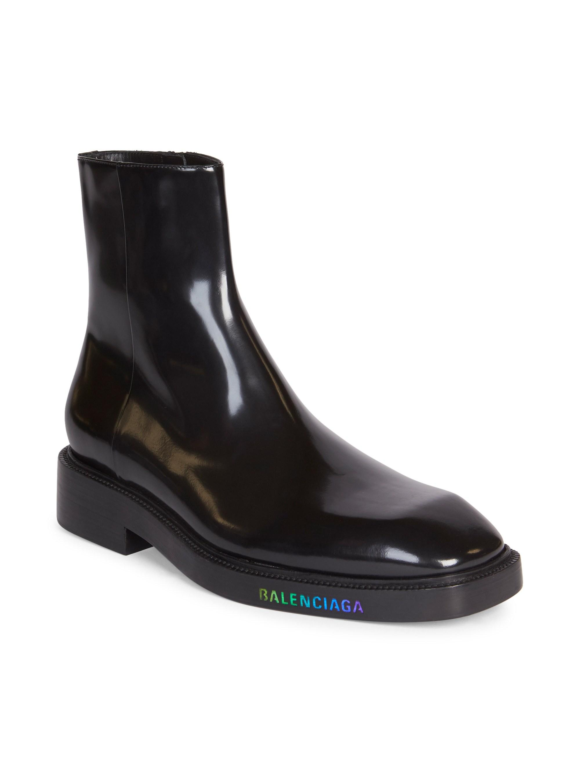 Led Patent Leather Ankle Boots - Black