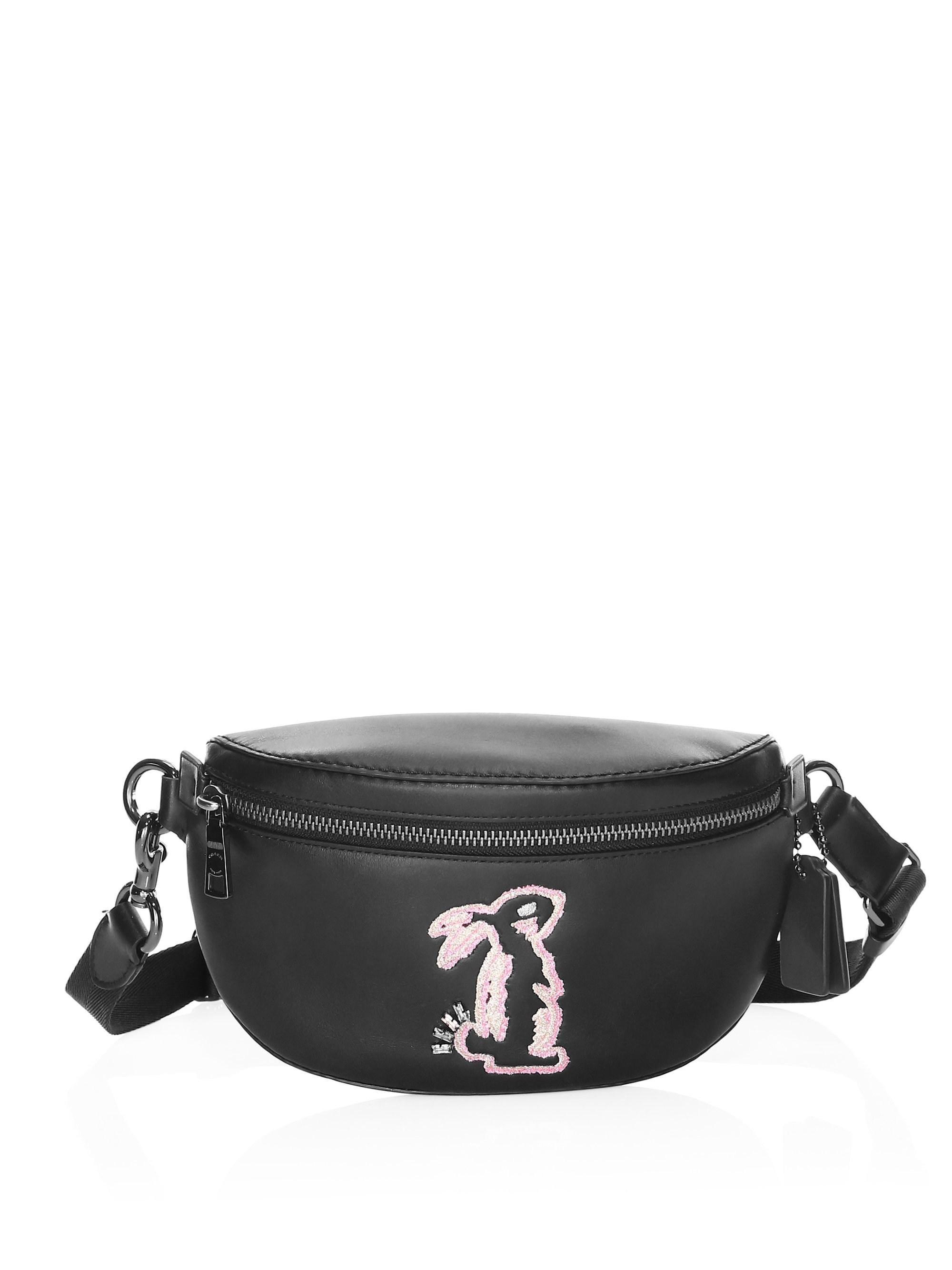 43a4c741a32a COACH X Selena Gomez Bunny Belt Bag in Black - Lyst