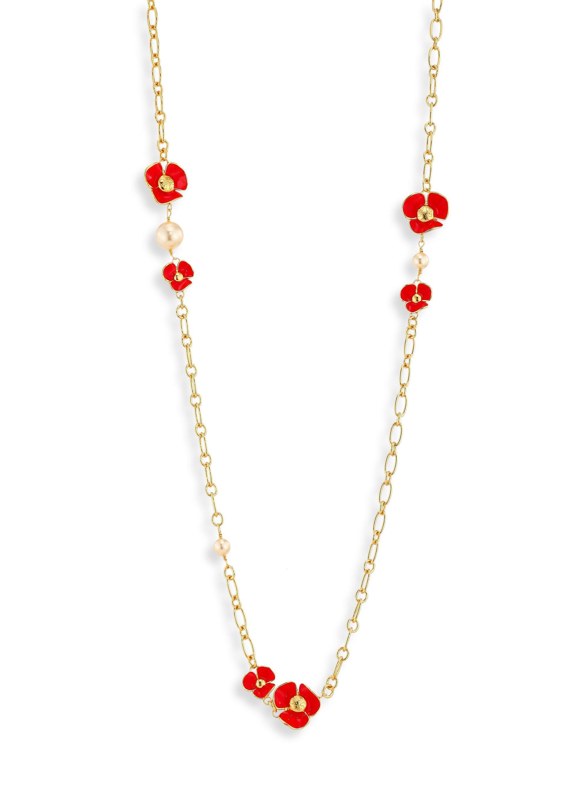 0de947b03032 Lyst - Tory Burch Fleur Faux-pearl Rosary in Gray