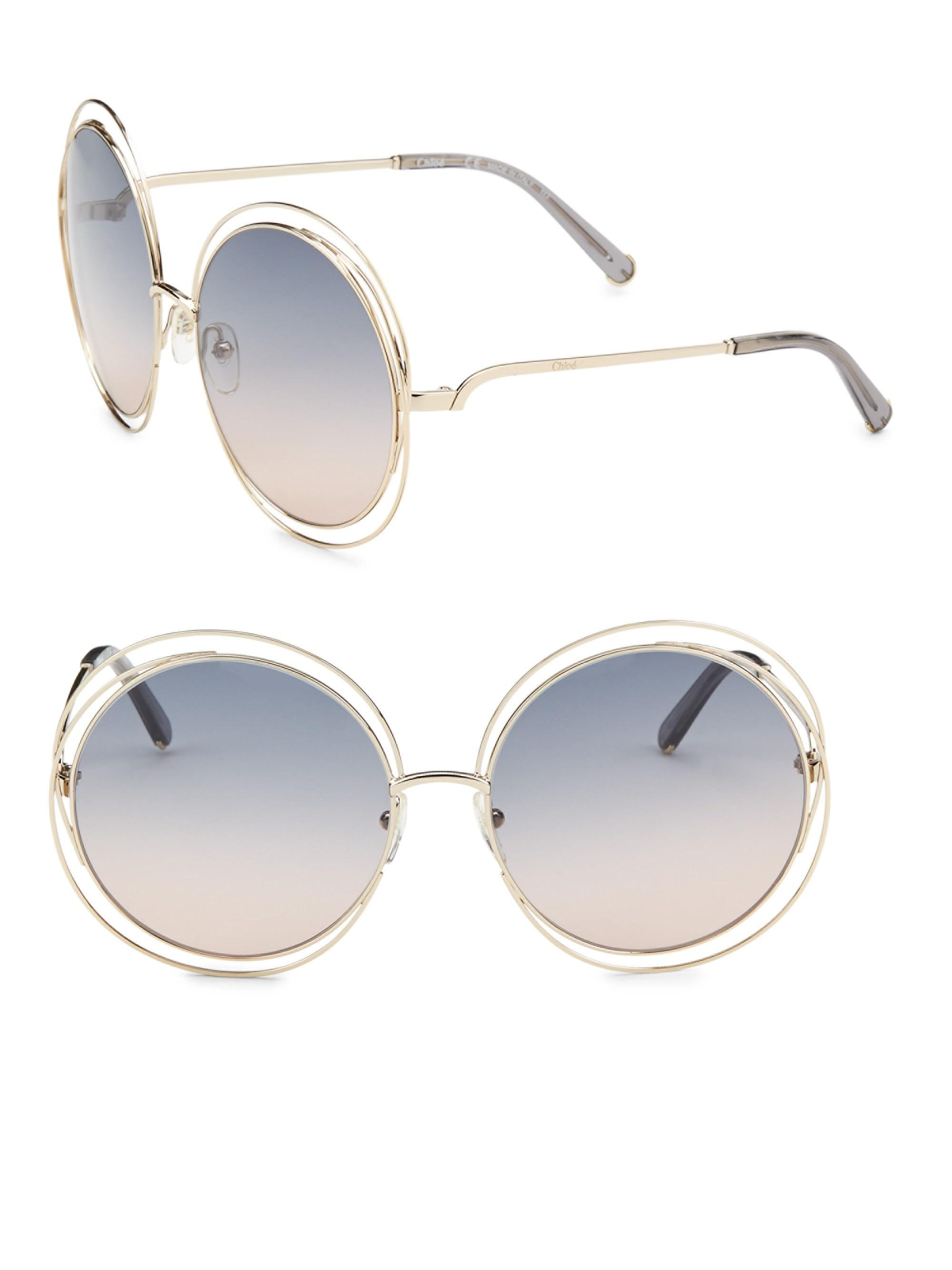 eb495df746f Lyst - Chloé Women s Carlina 62mm Round Metal Sunglasses - Gold ...