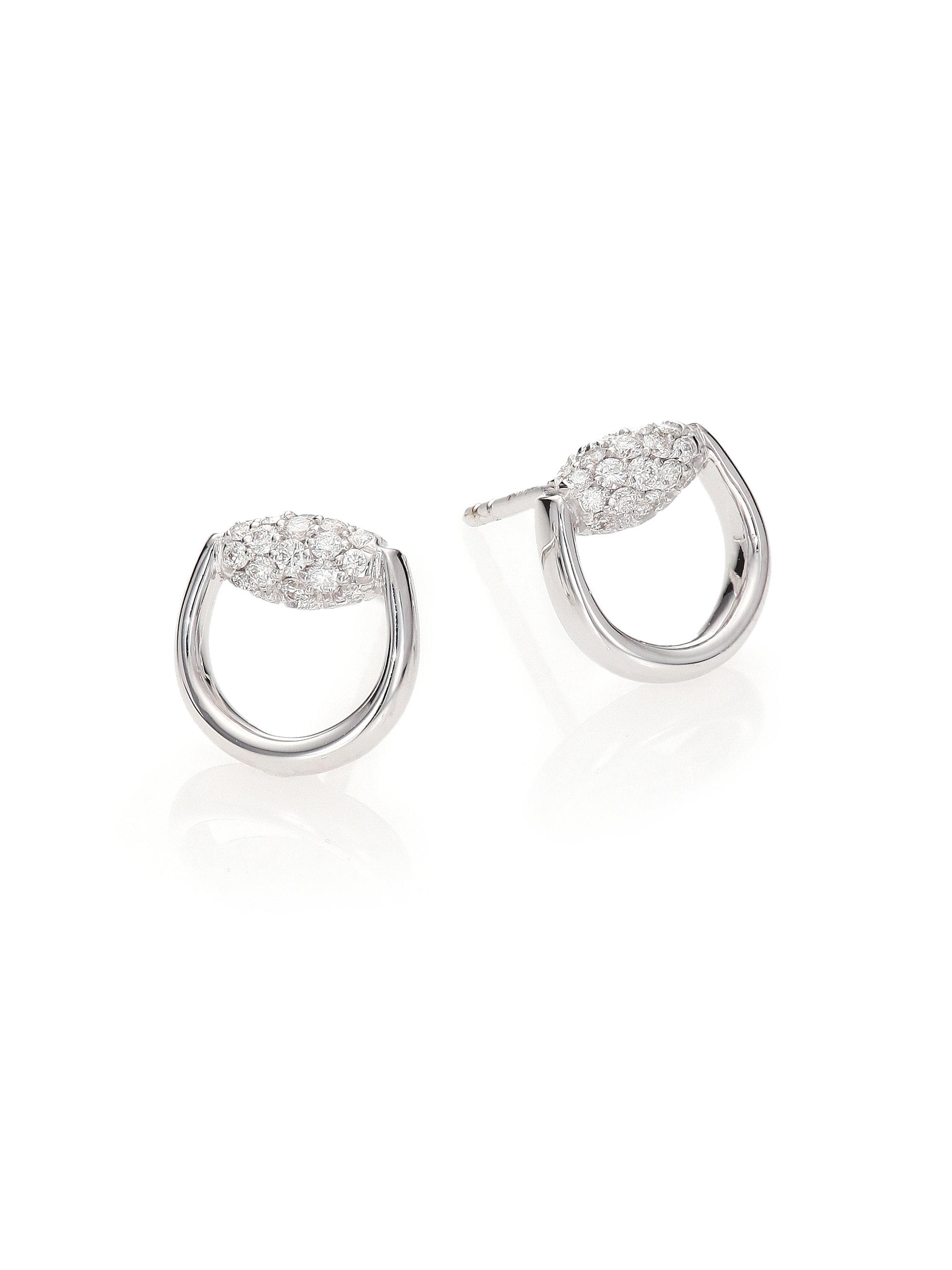 f7fb452be Gucci Horsebit Diamond & 18k White Gold Stud Earrings in Metallic - Lyst
