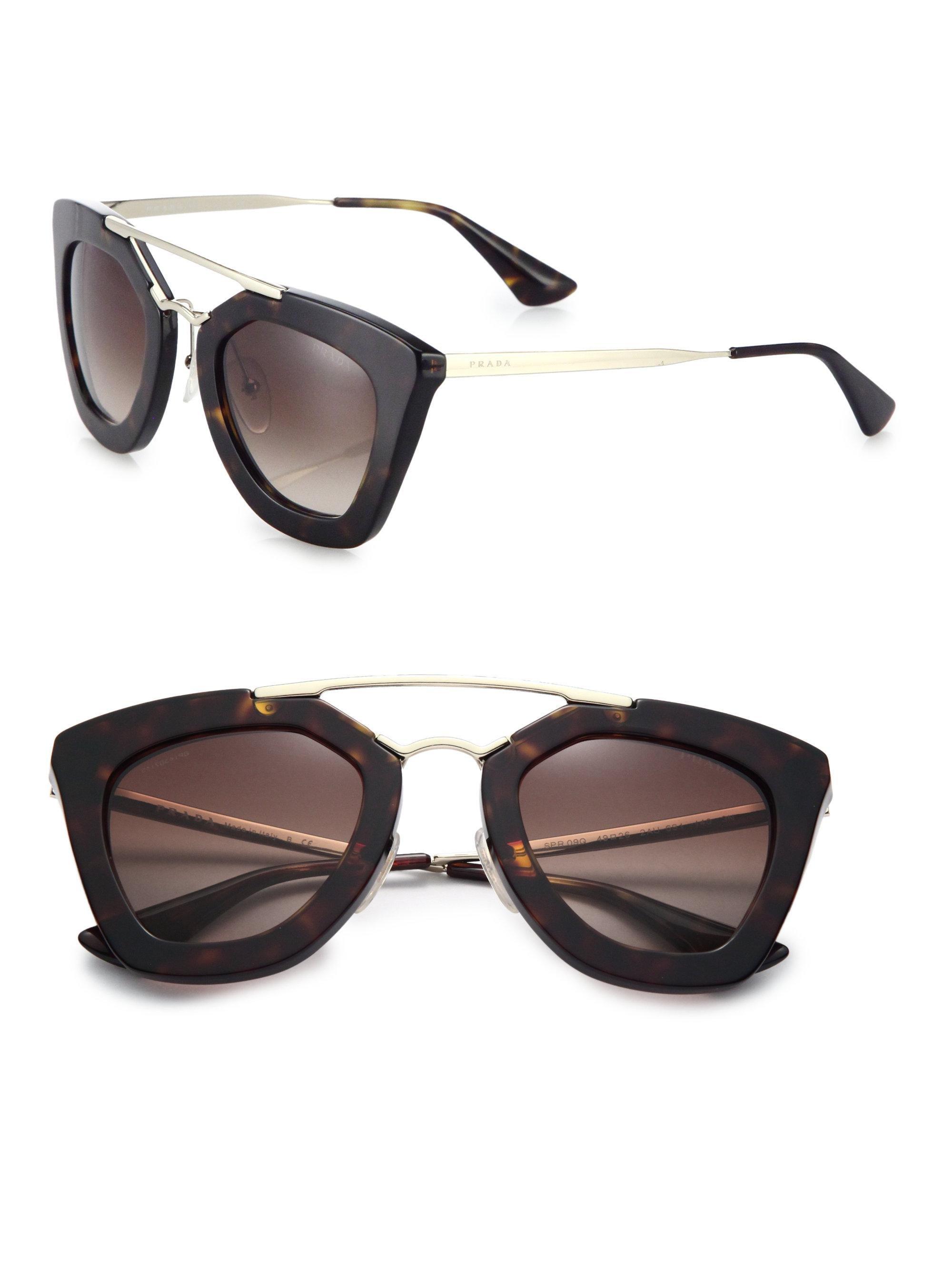 db636dbe8a ... france lyst prada cats eye sunglasses in brown f14c2 8b115 ...