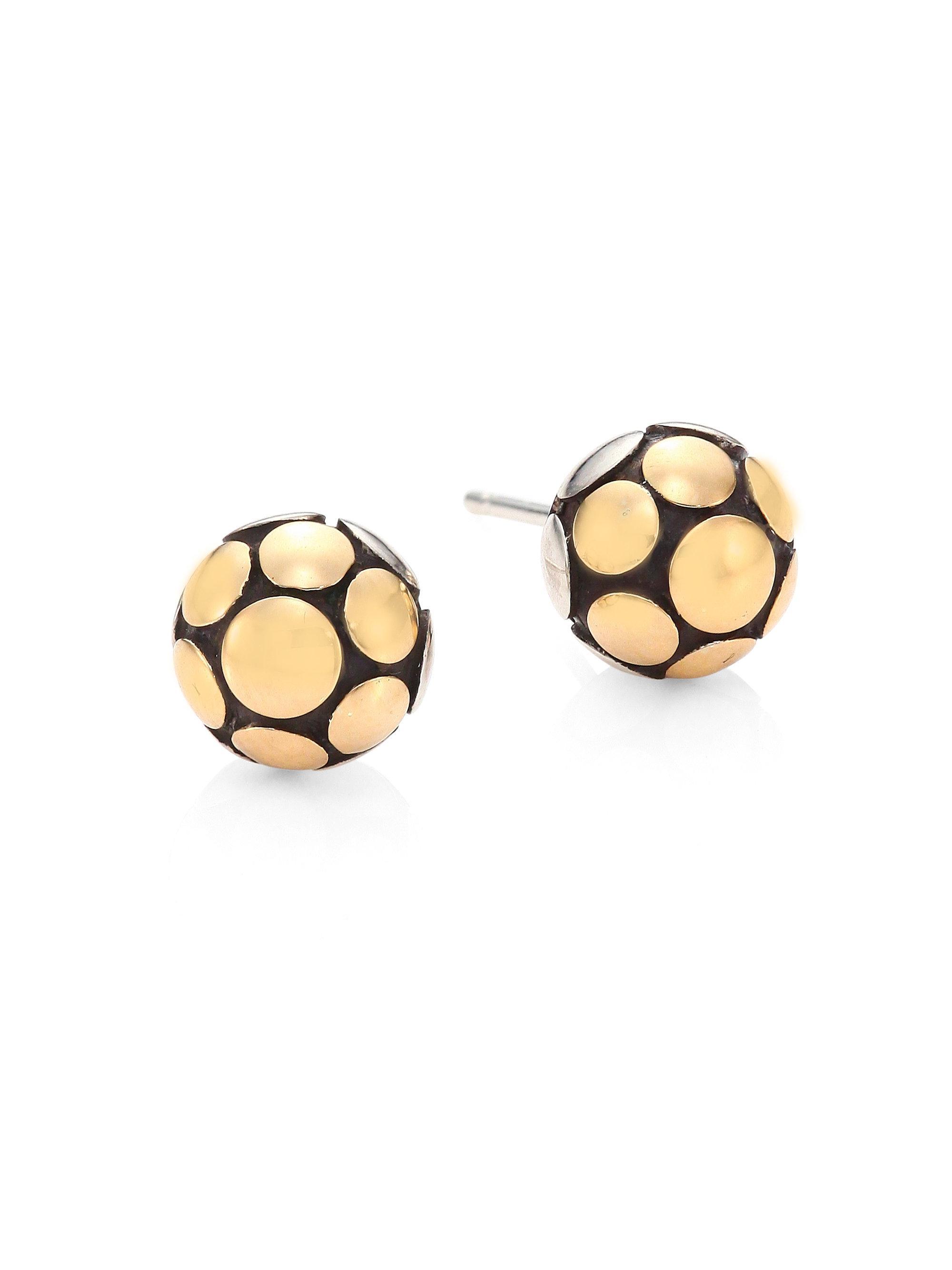 John Hardy Women S Metallic Dot Medium 18k Yellow Gold Sterling Silver Ball Stud Earrings