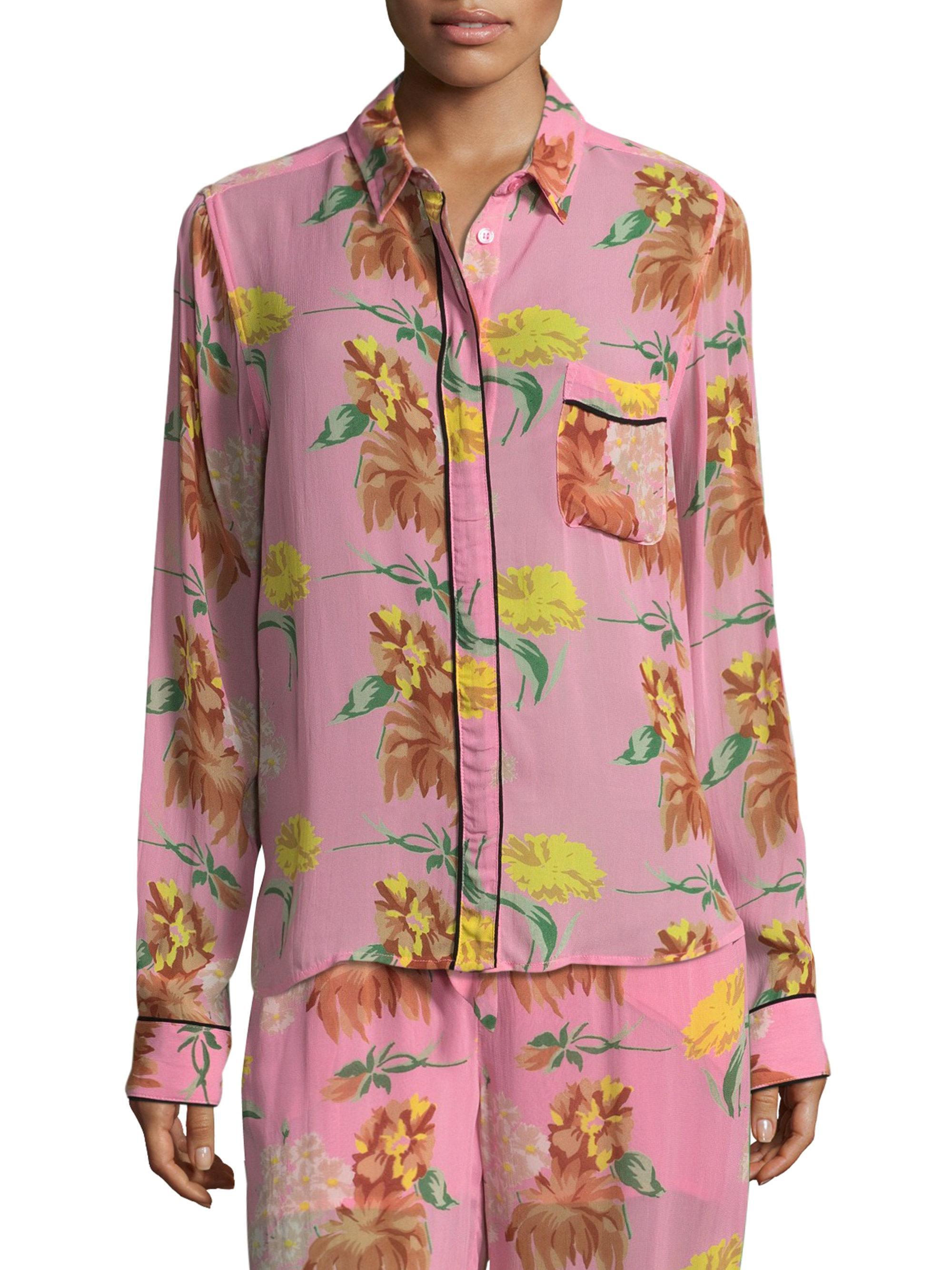 f7b3d00f Ganni Marceau Floral-print Blouse in Pink - Lyst