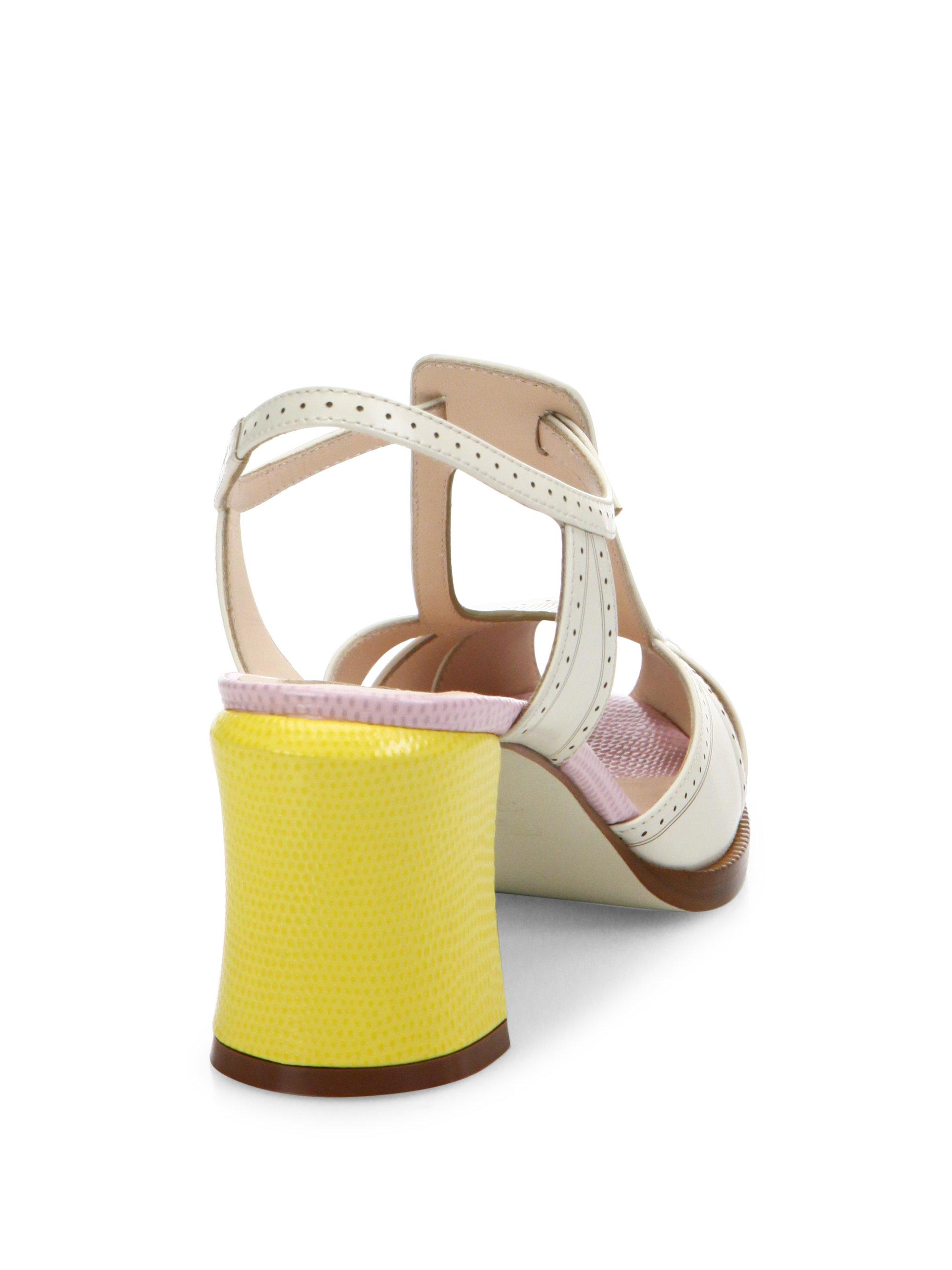2123d375b963 Lyst - Fendi Chameleon Leather T-strap Sandals