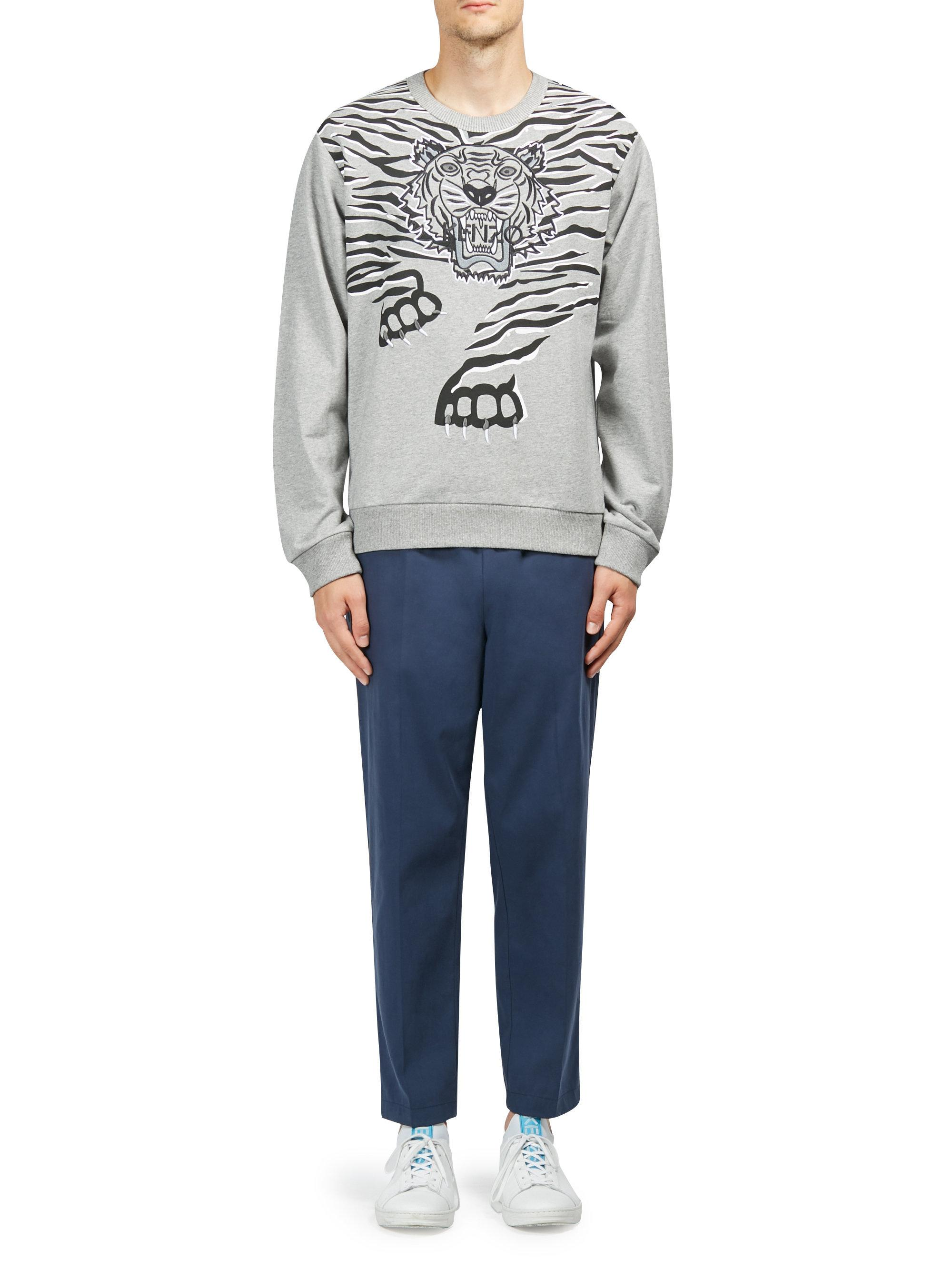 24be8b5c9 KENZO Tiger Claw Cotton Sweatshirt in Gray for Men - Lyst