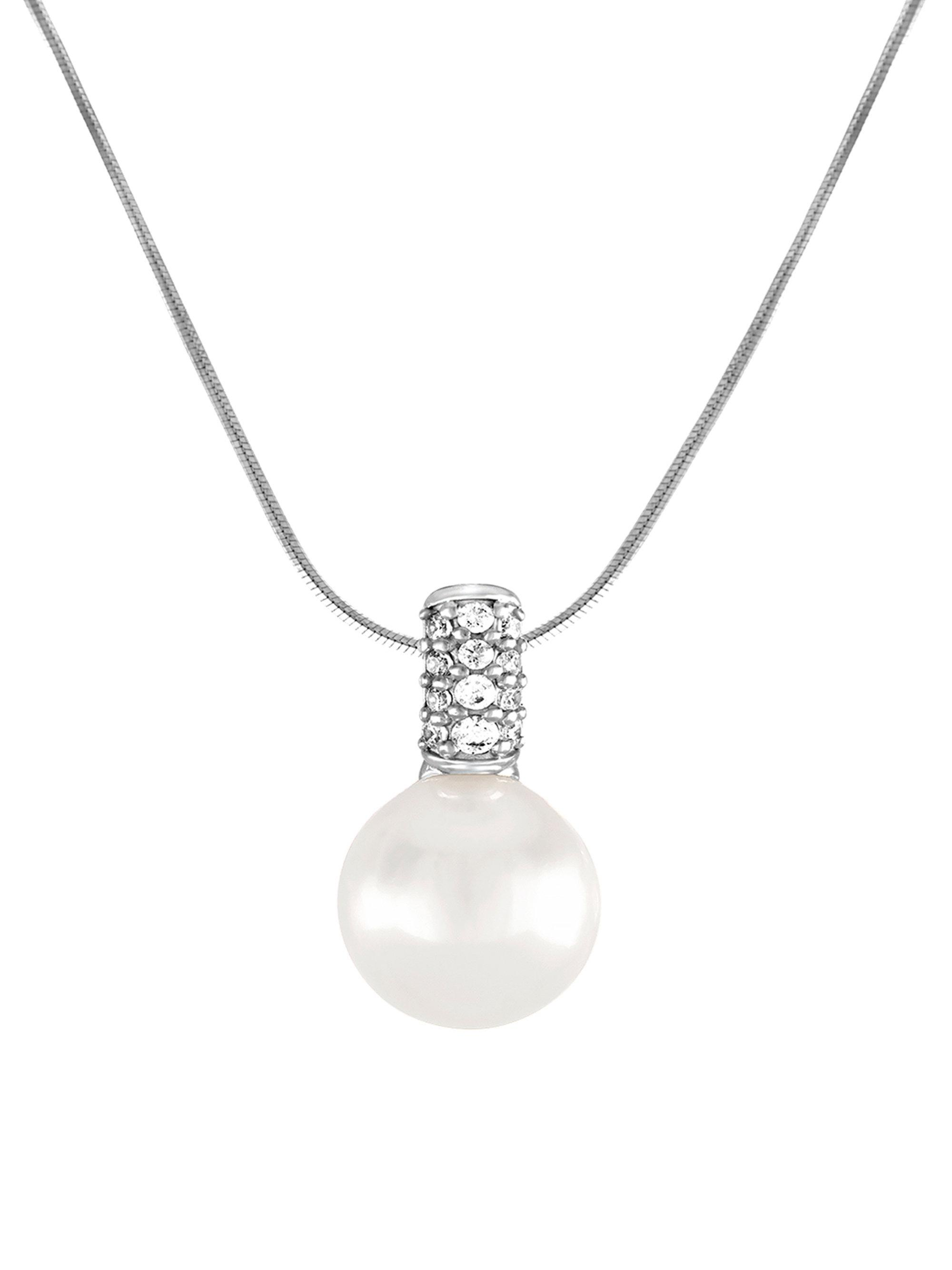 Majorica Cubic Zirconia & Pearly Cross Pendant Necklace n0TKF5pl