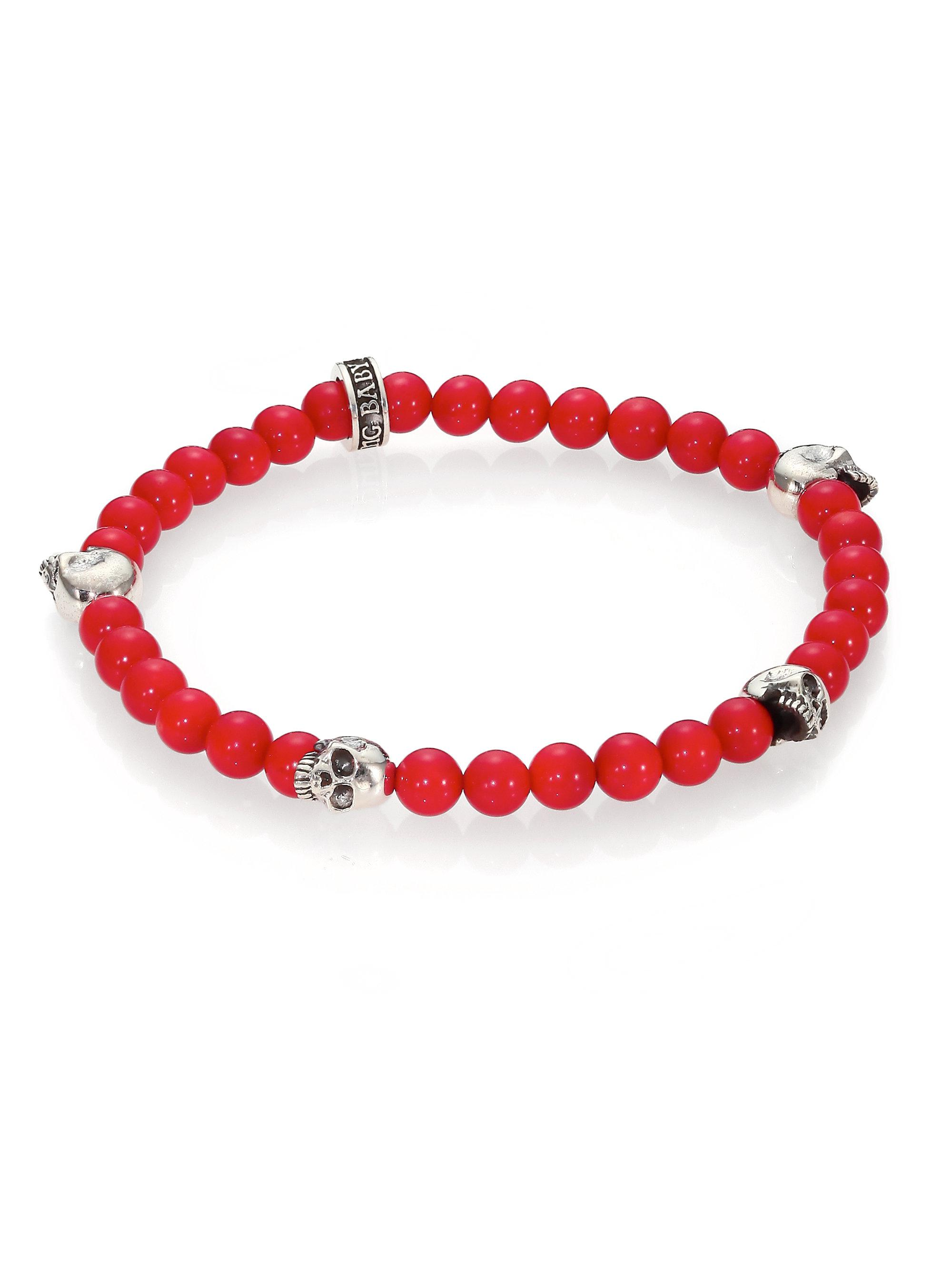 Lyst king baby studio red coral beaded bracelet in red for King baby jewelry sale