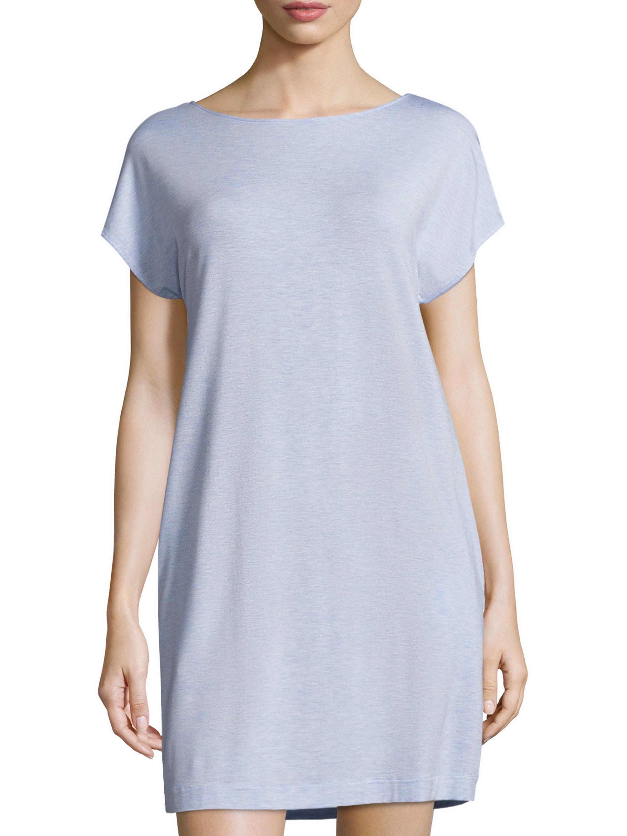 d9f0f4fdbf Hanro Natural Elegance Short Sleeve Nightgown in Blue - Lyst