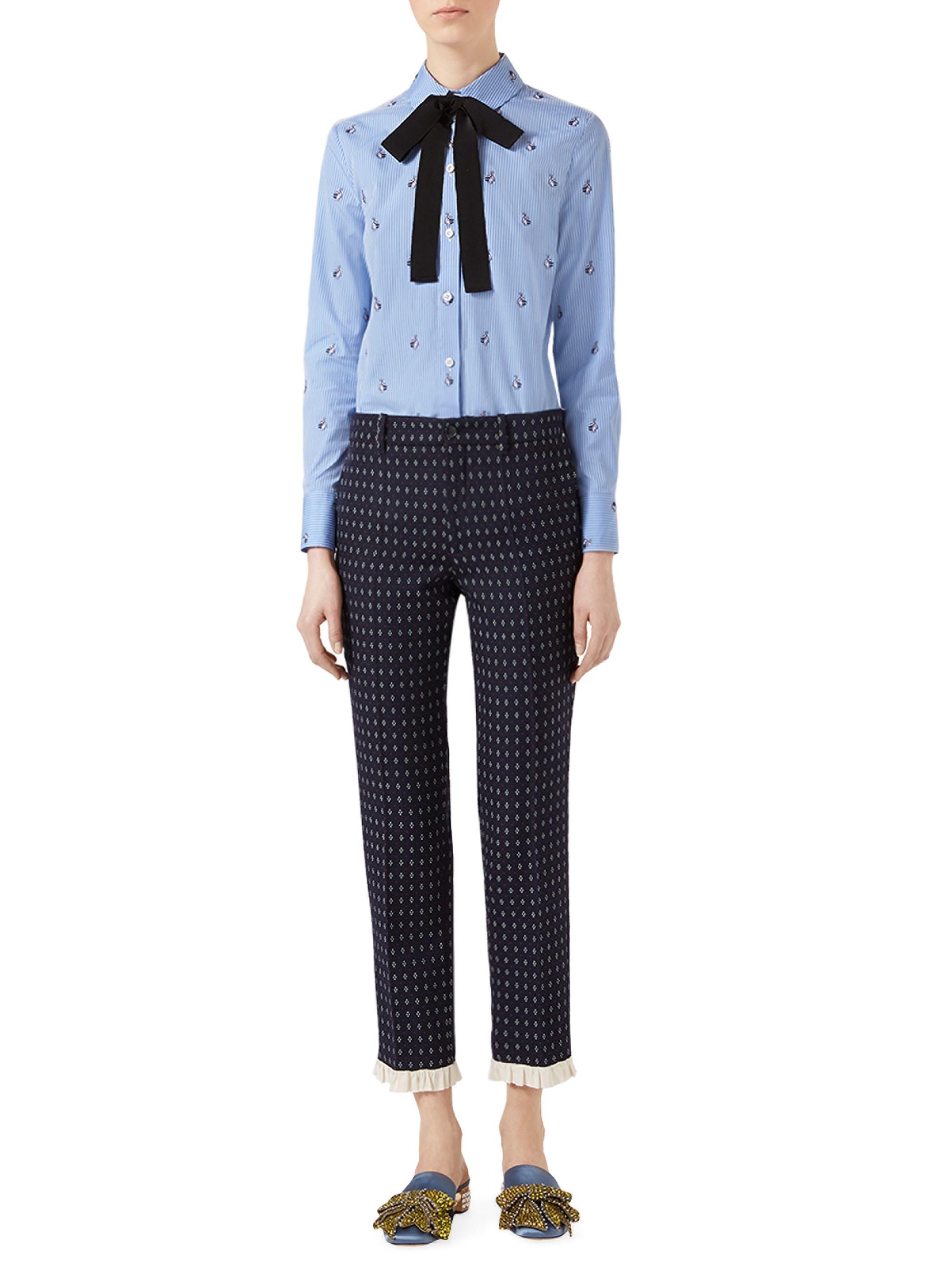 3d4145b1b5 Gucci Women's Rabbit Fil Coupé Cotton Tie-neck Shirt - Blue
