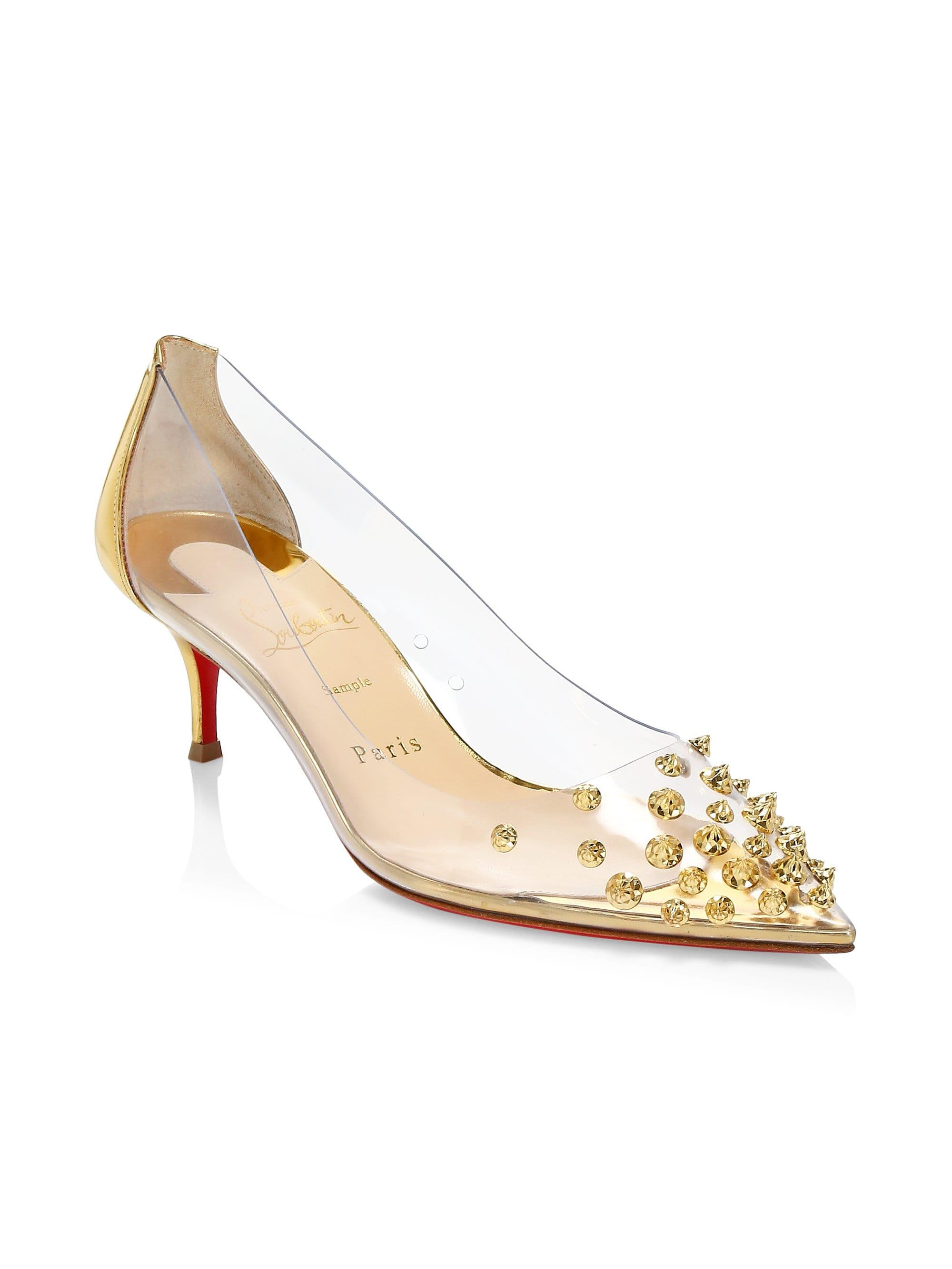 a7196eb95f5 Christian Louboutin Women's Collaclou Leather & Pvc Pumps - Gold in ...