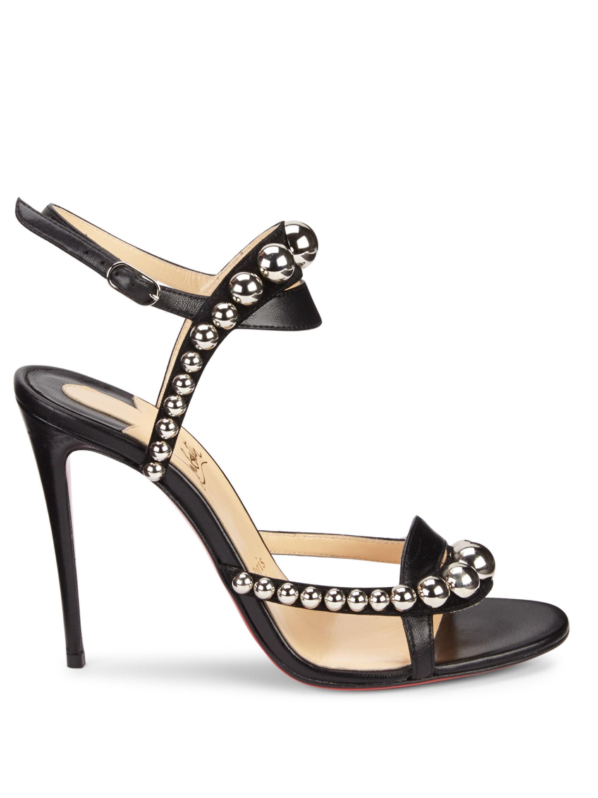 the latest c13d3 e5c42 Christian Louboutin Black Galleria 100 Leather Stud Sandals