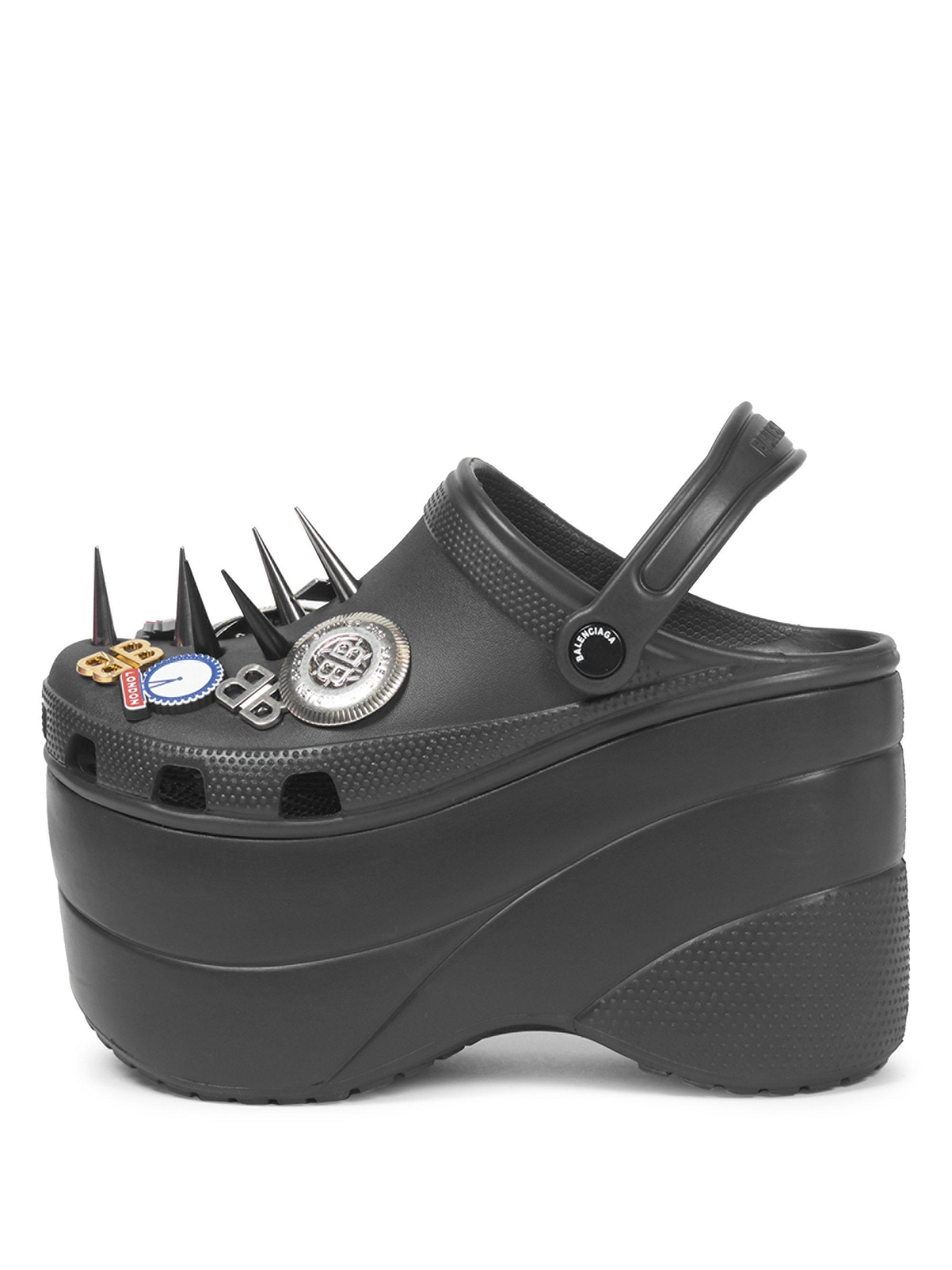 c6b1cf85badff Lyst - Balenciaga Black Foam Platform Crocs With Spikes in Black