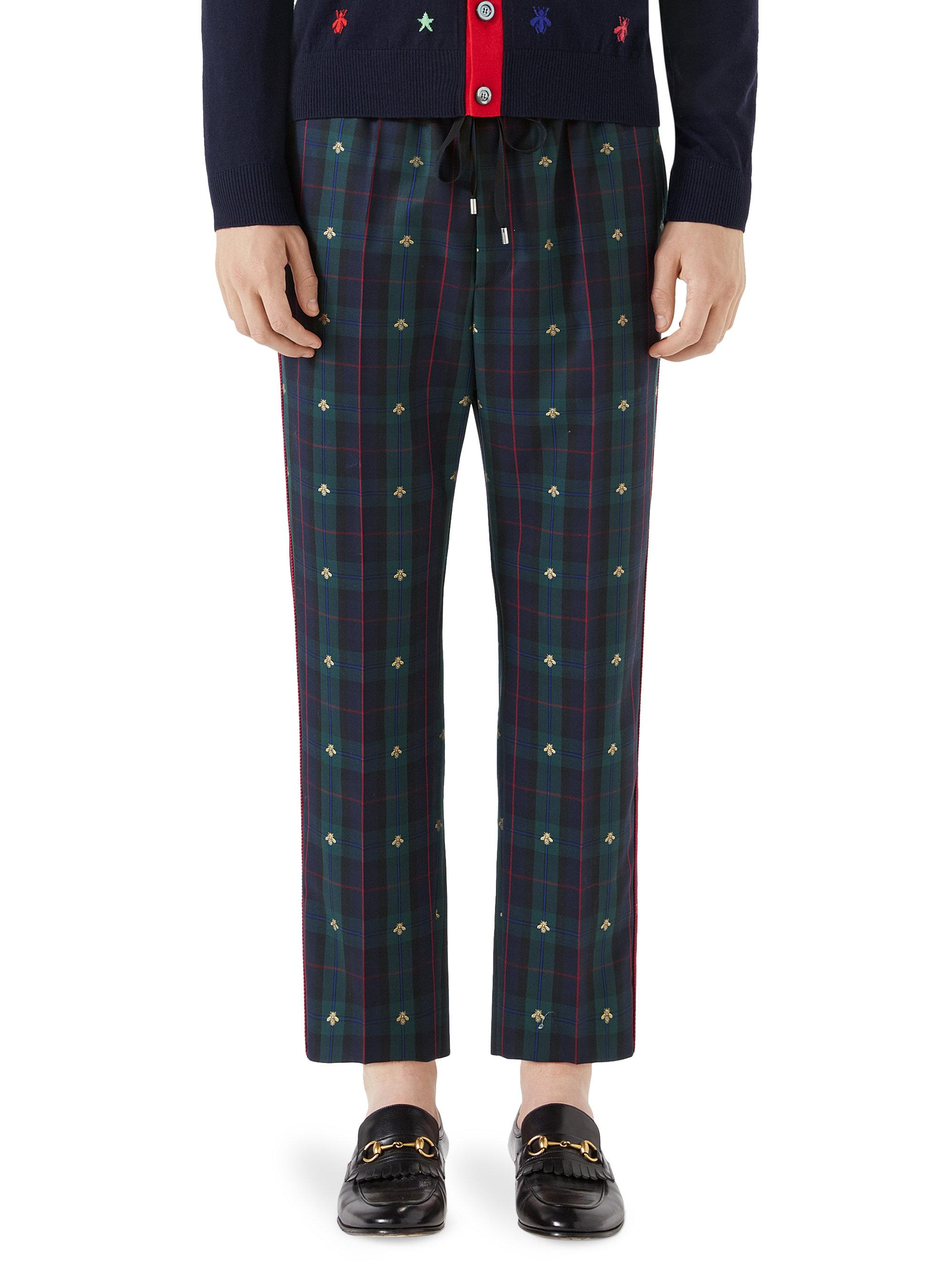 dcb5ced1640 Gucci Bee Iconic Check Wool Ankle Pants in Blue for Men - Lyst
