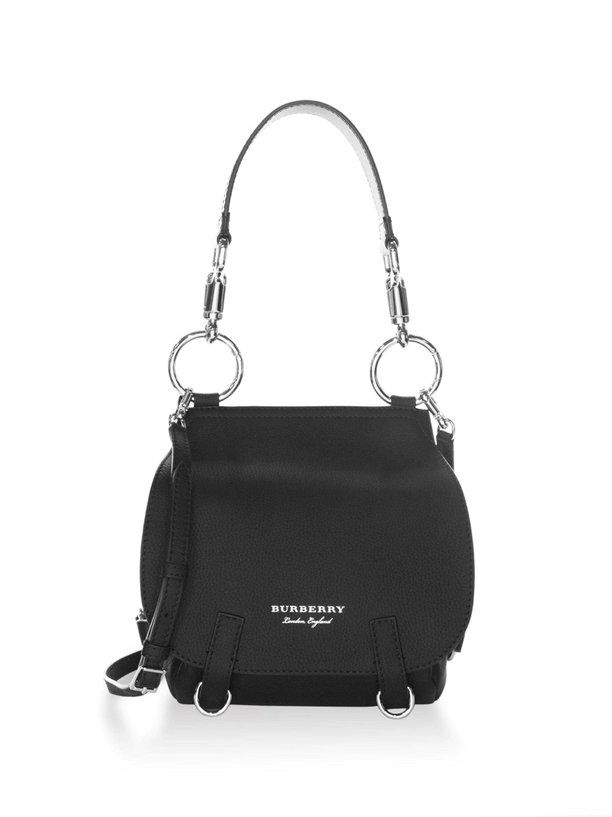 Lyst - Burberry Bridle Leather Crossbody Bag in Black 377def6dafec2