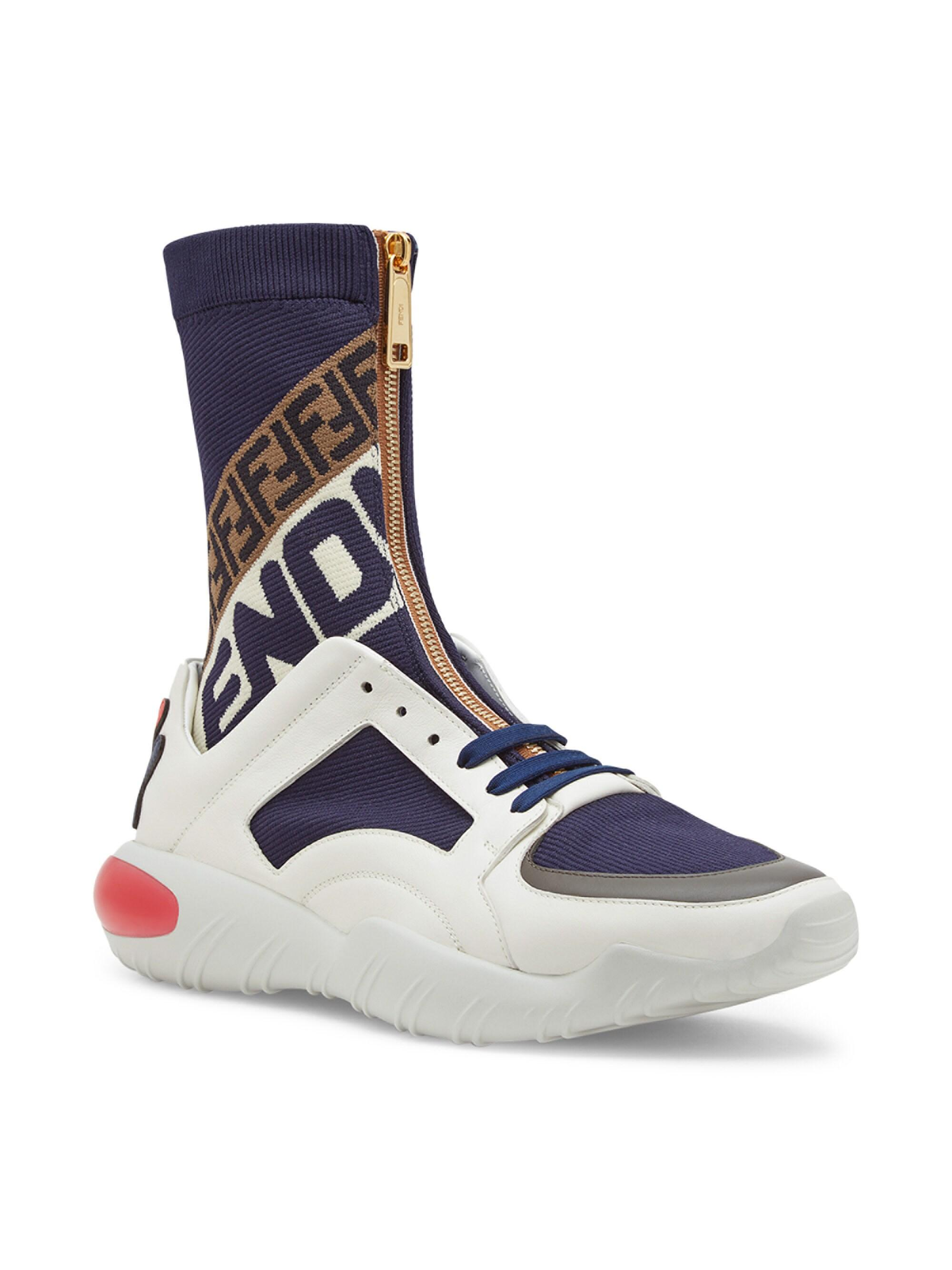 Lace White And Navy Mania Sock Sneakers