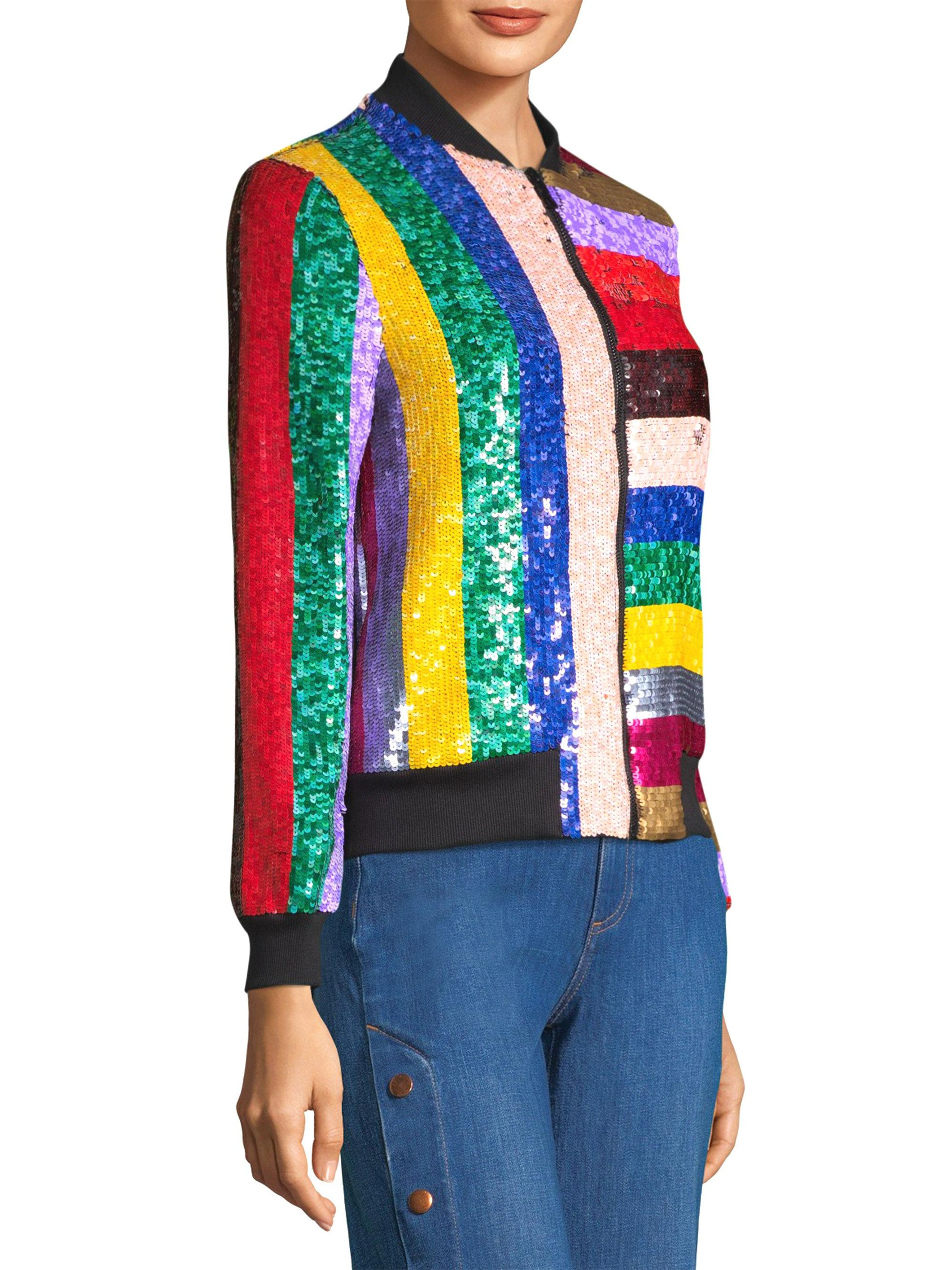 7fcebbd4b Alice + Olivia Multicolor Lonnie Sequin Bomber Jacket