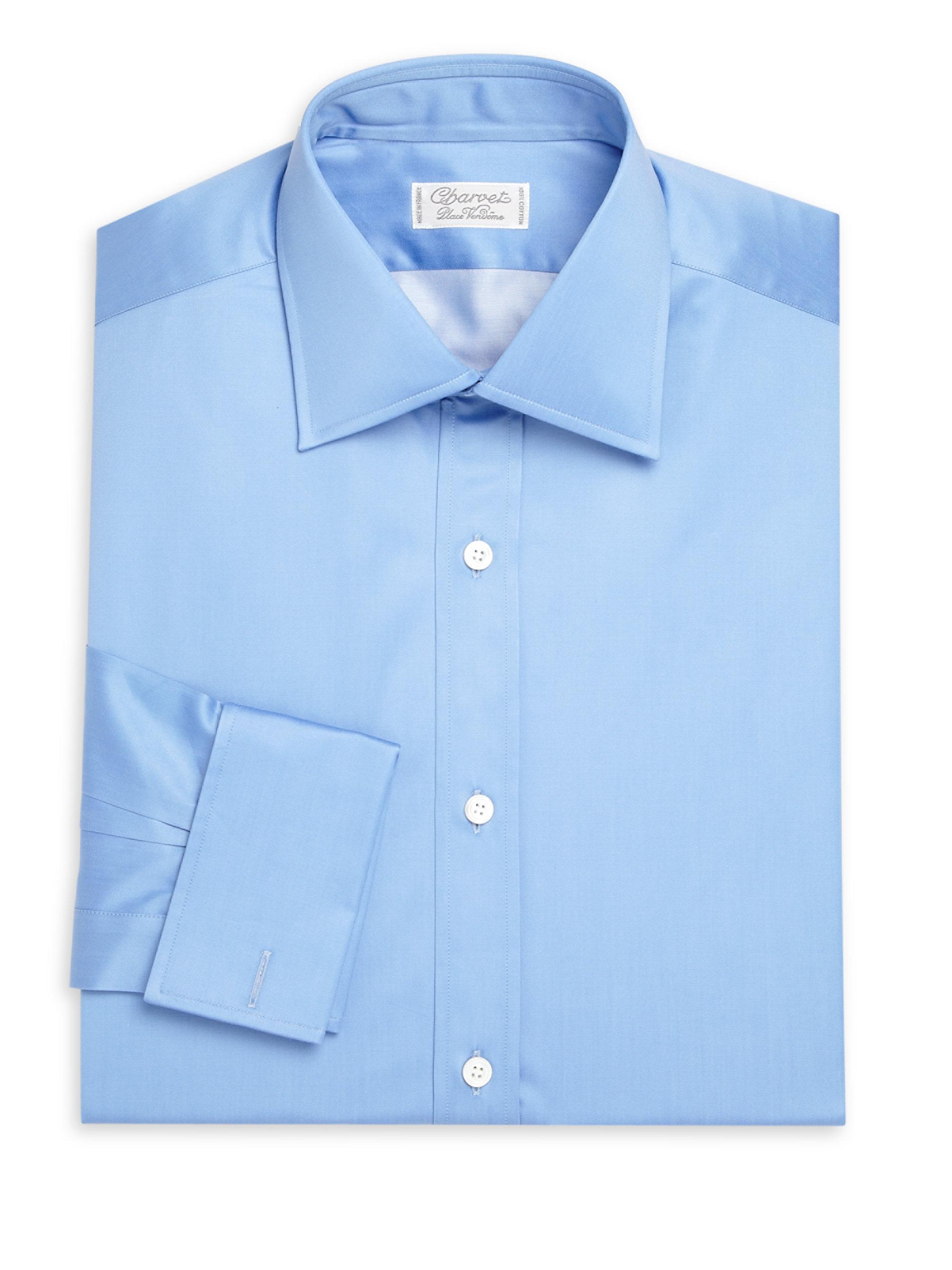 Charvet regular fit solid cotton dress shirt in blue for for Regular fit dress shirt
