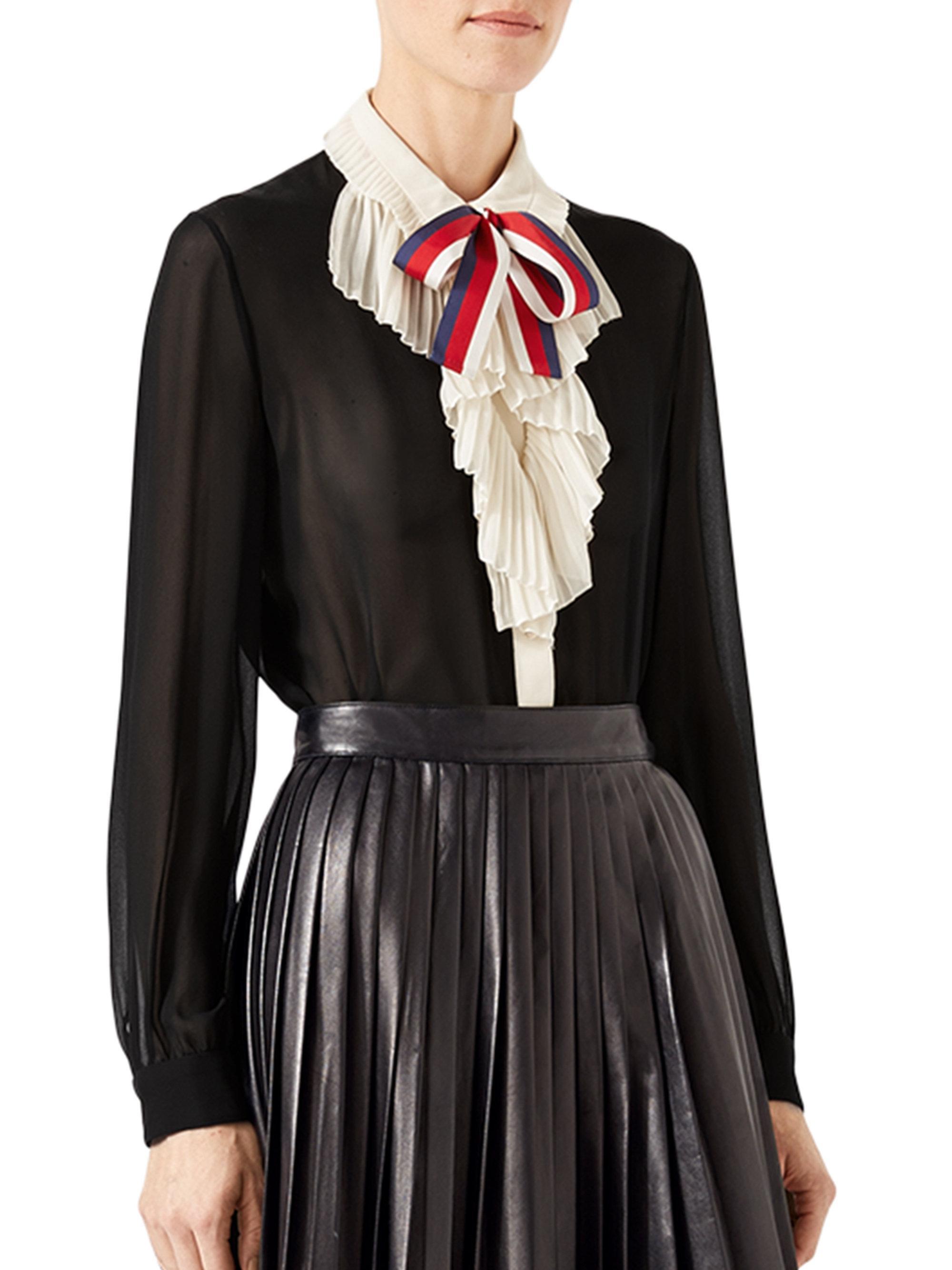 90a9c16a1 Lyst - Gucci Silk Georgette Shirt in Black