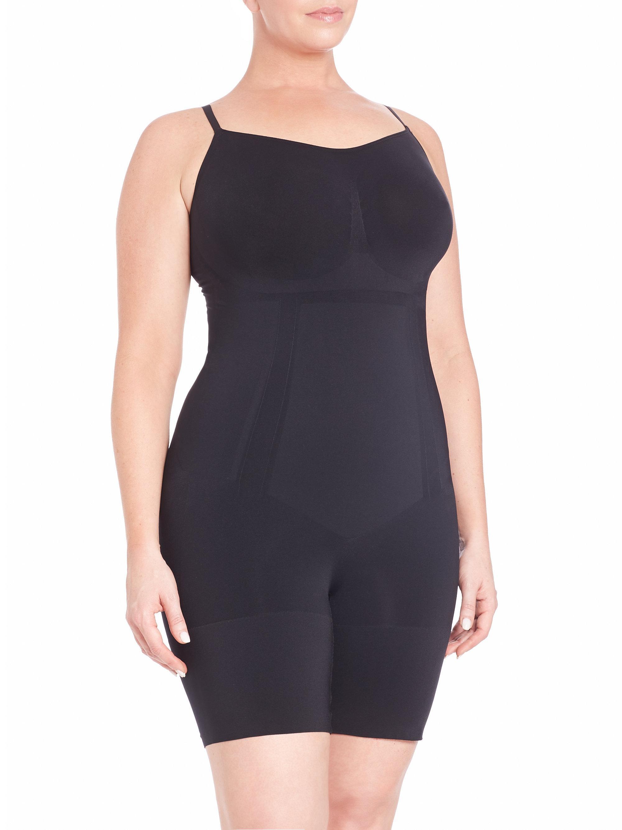 98d4e580e73dc Lyst - Spanx Oncore Mid-thigh Plus-size Bodysuit in Black