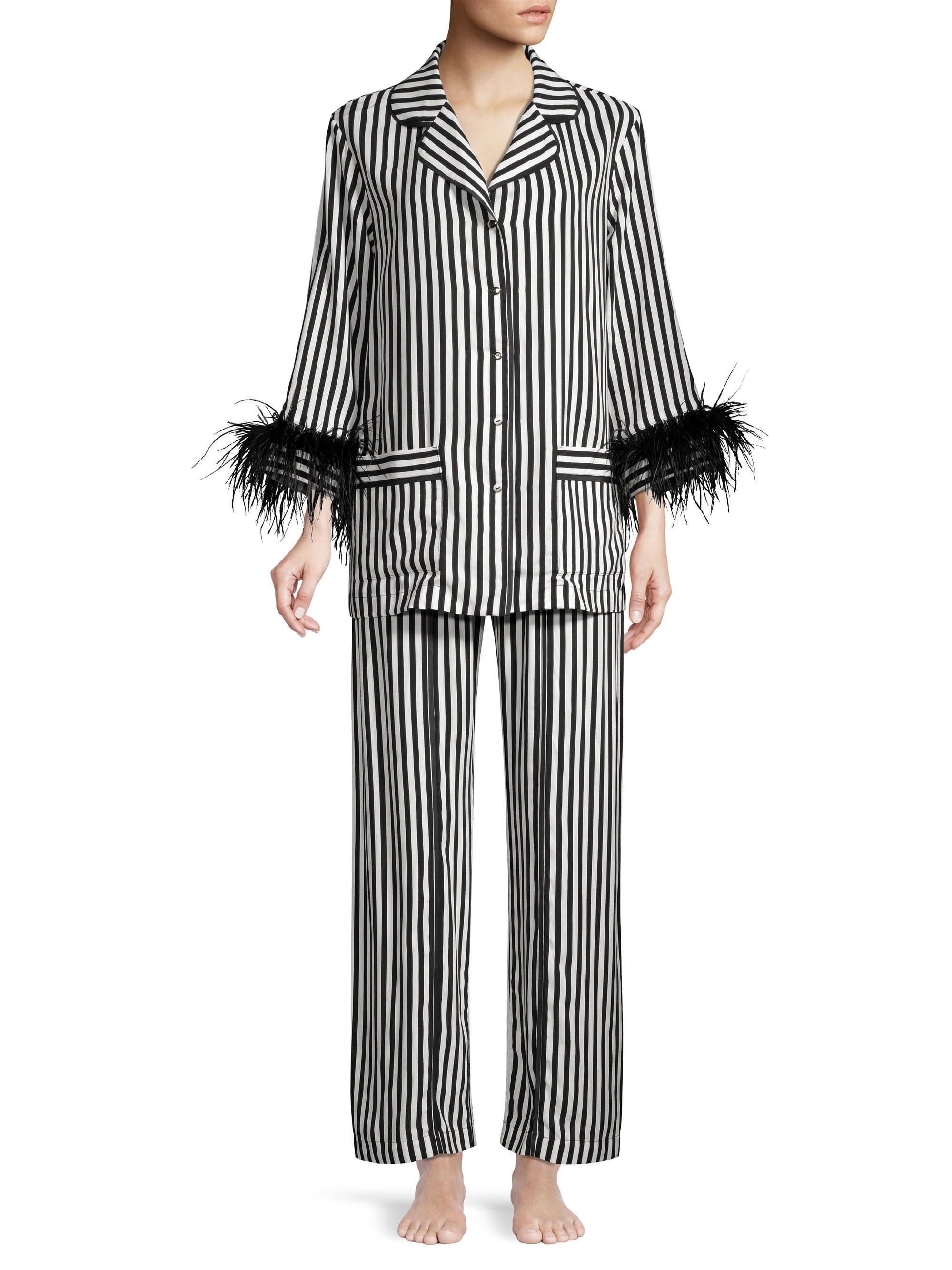 b009f55cb Sleeper Striped Feather-trim Pajama Top in Black - Save 29% - Lyst