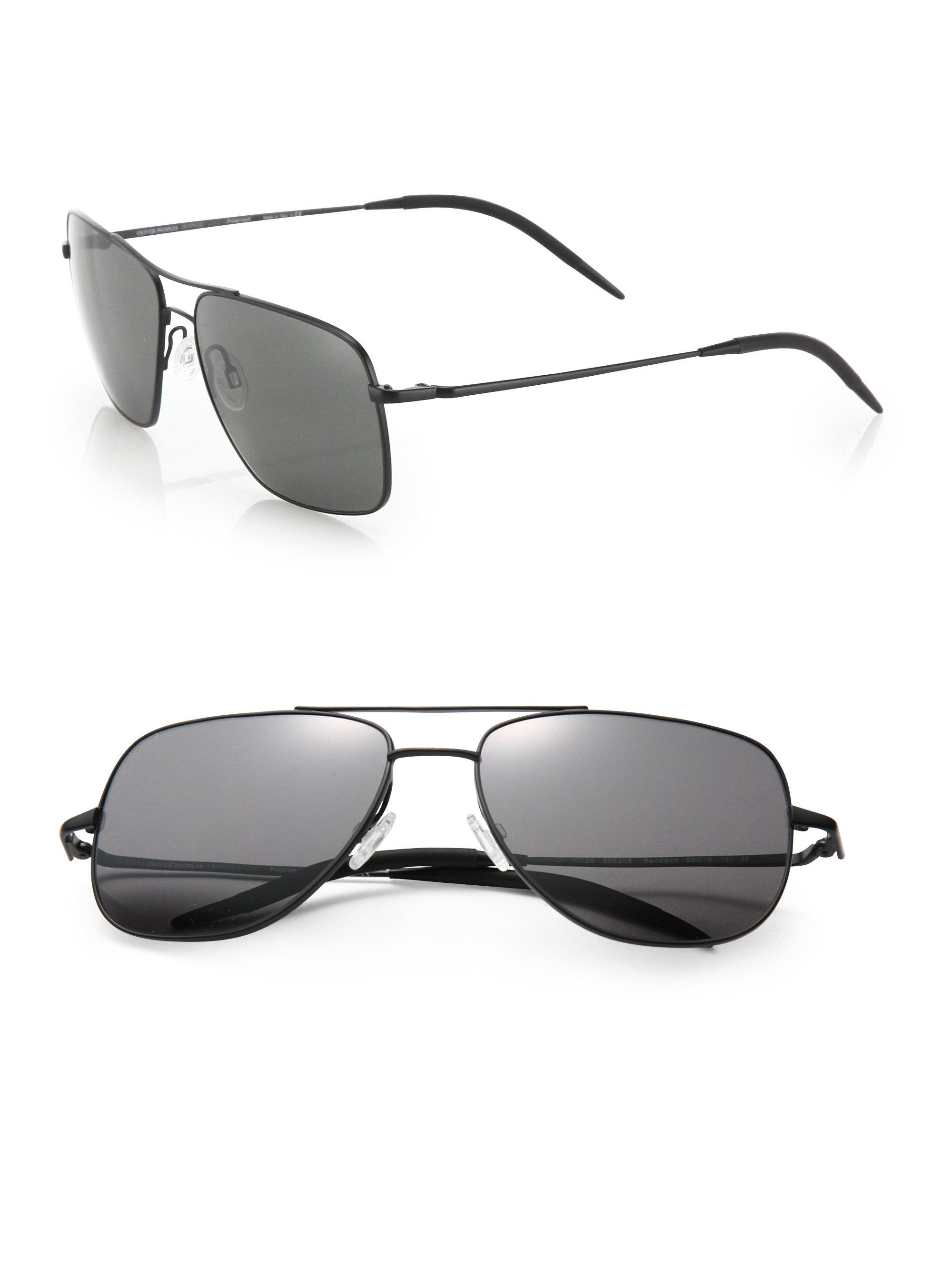 33ddd618 Oliver Peoples Black Clifton 58mm Square Aviator Sunglasses for men