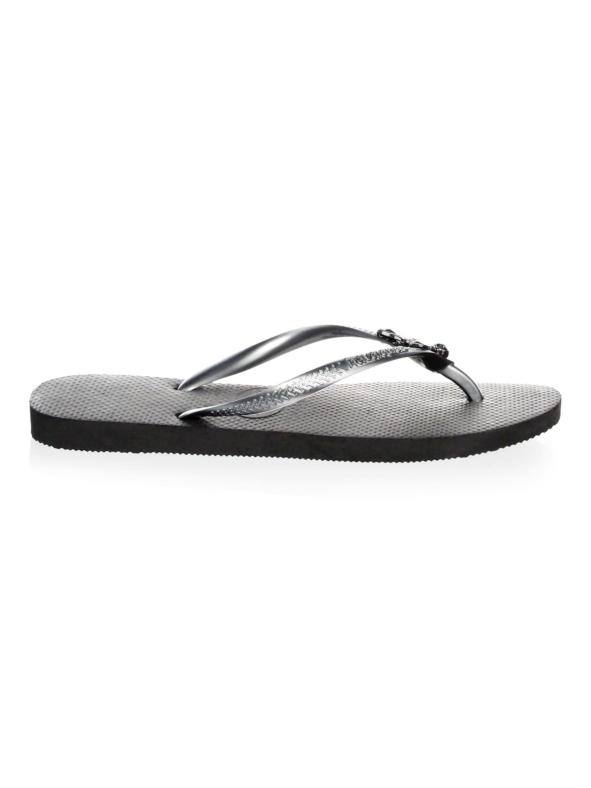 9090f3d6f095ad Havaianas - Black Women s Slim Lux Swarovski Crystal Flip Flops - Sand -  Size 39-