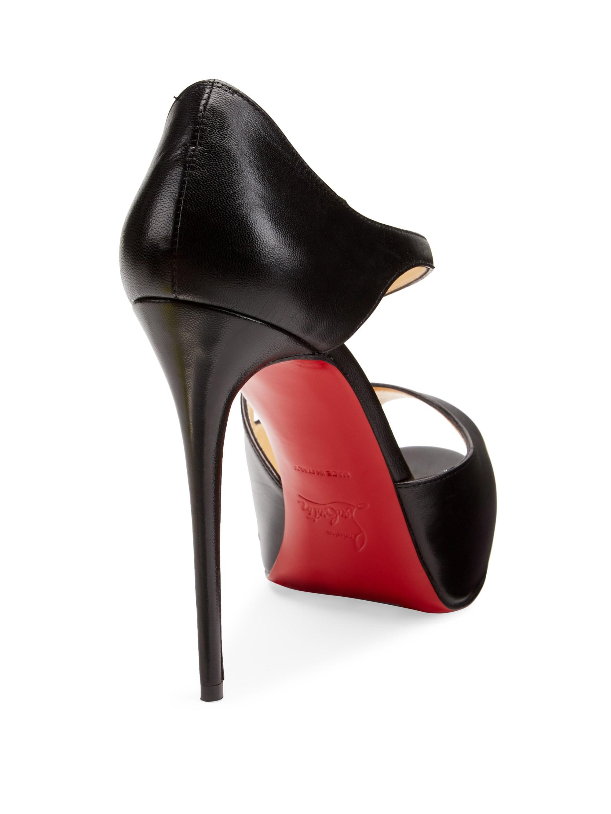 24415ff4e92 Christian Louboutin Black Catchy Two 120 Leather Peep Toe Pumps
