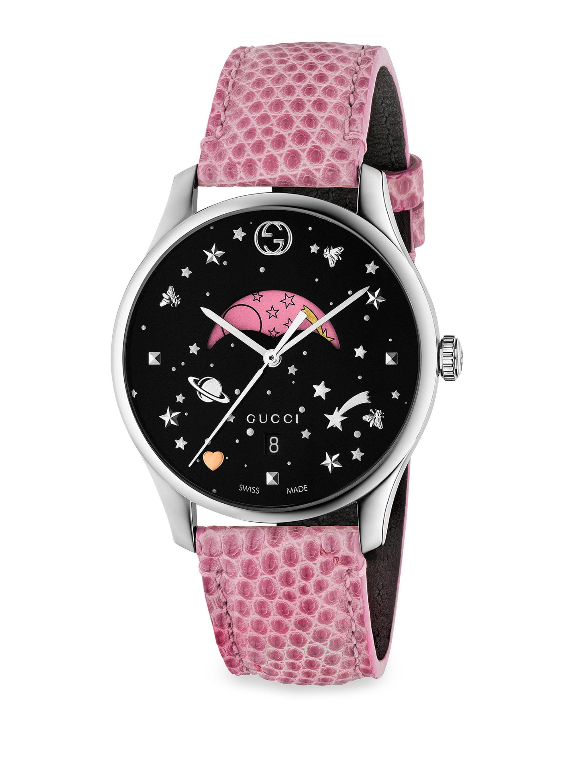 3769a37ff6f Lyst - Gucci G-timeless Pink Moonphase Lizard Strap Watch in Metallic