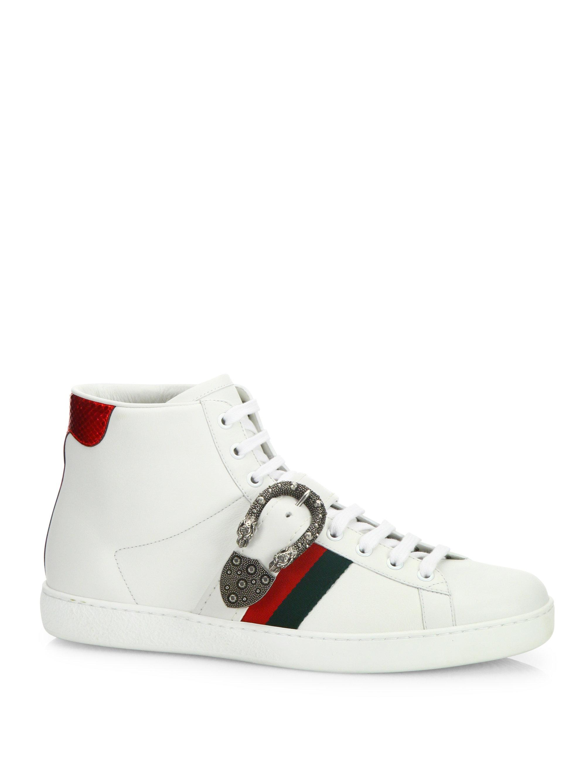 a0ee009640d4 Lyst - Gucci New Ace Belt Leather High-top Sneakers in White for Men