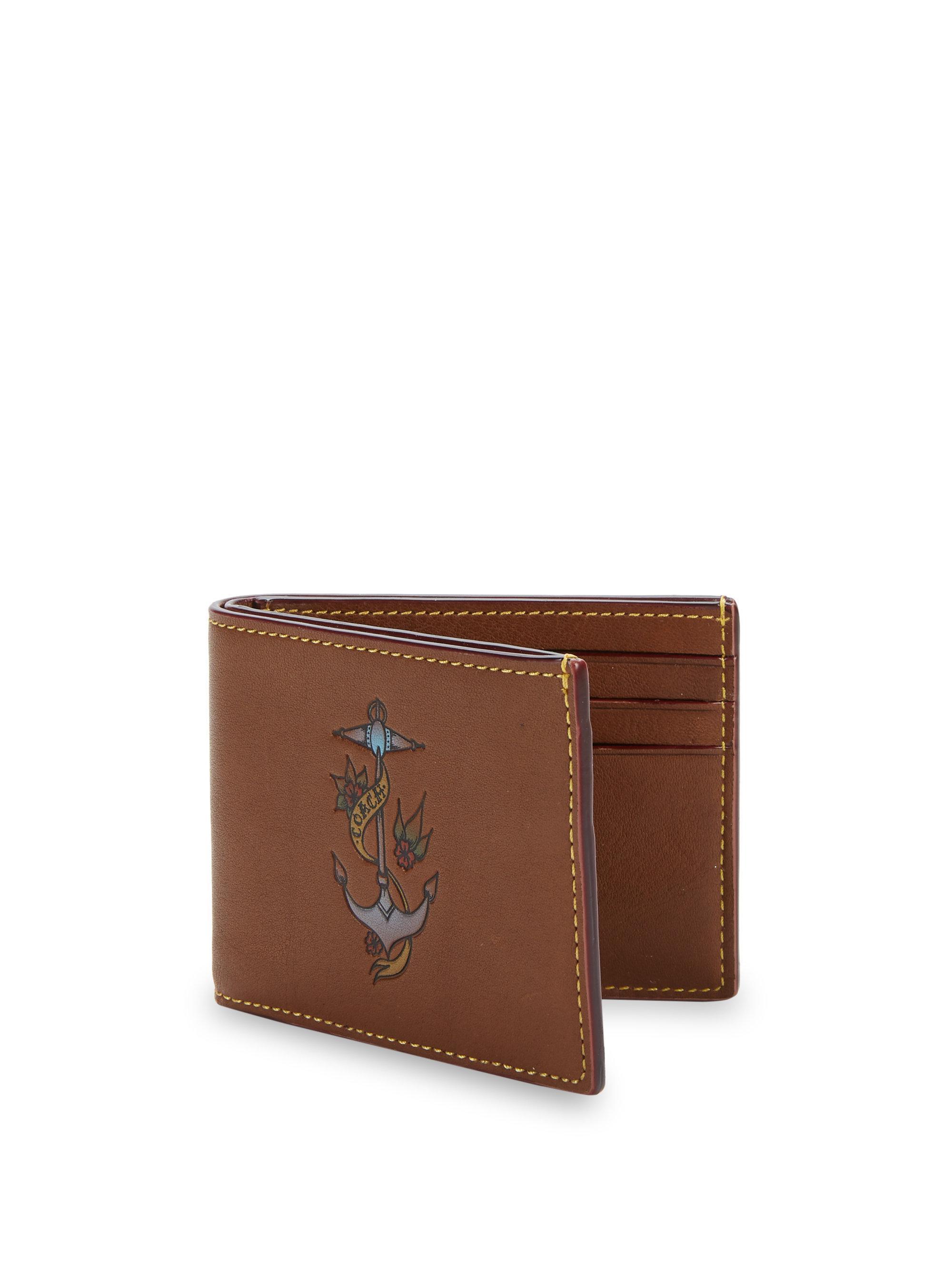 8e72d7631521 Coach 1941 Slim Billfold Tattoo Wallet in Brown for Men - Lyst