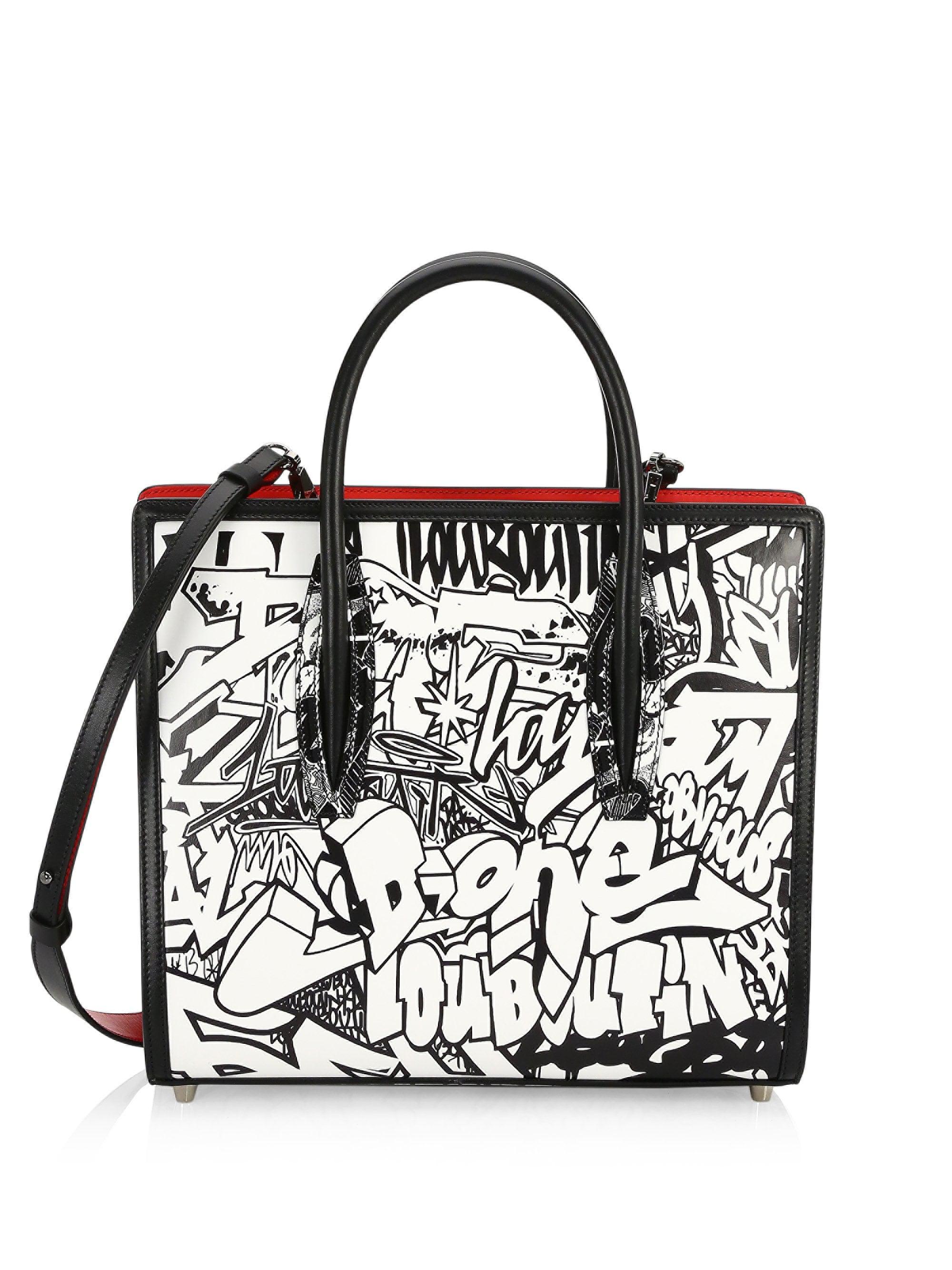 d66e52cb548 Christian Louboutin Multicolor Women's Medium Paloma Graffiti Leather Tote  - Black White
