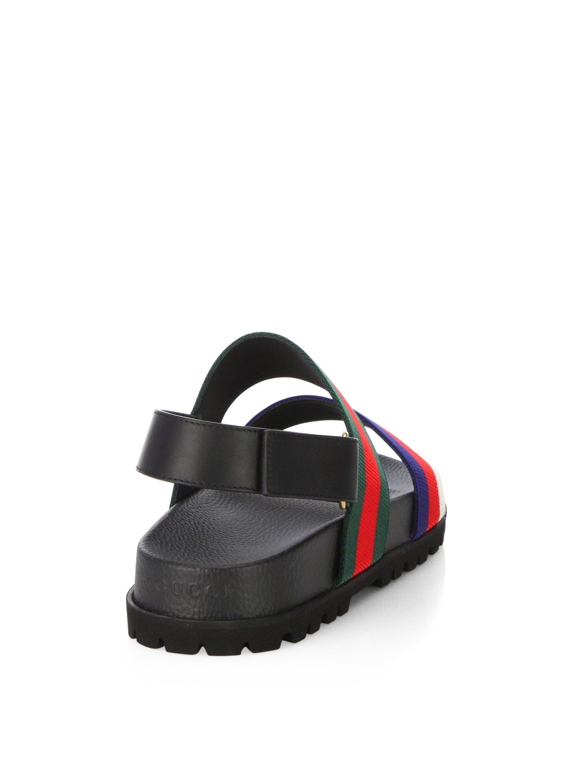 Gucci Rimini Leather Double Strap Sandals Lyst