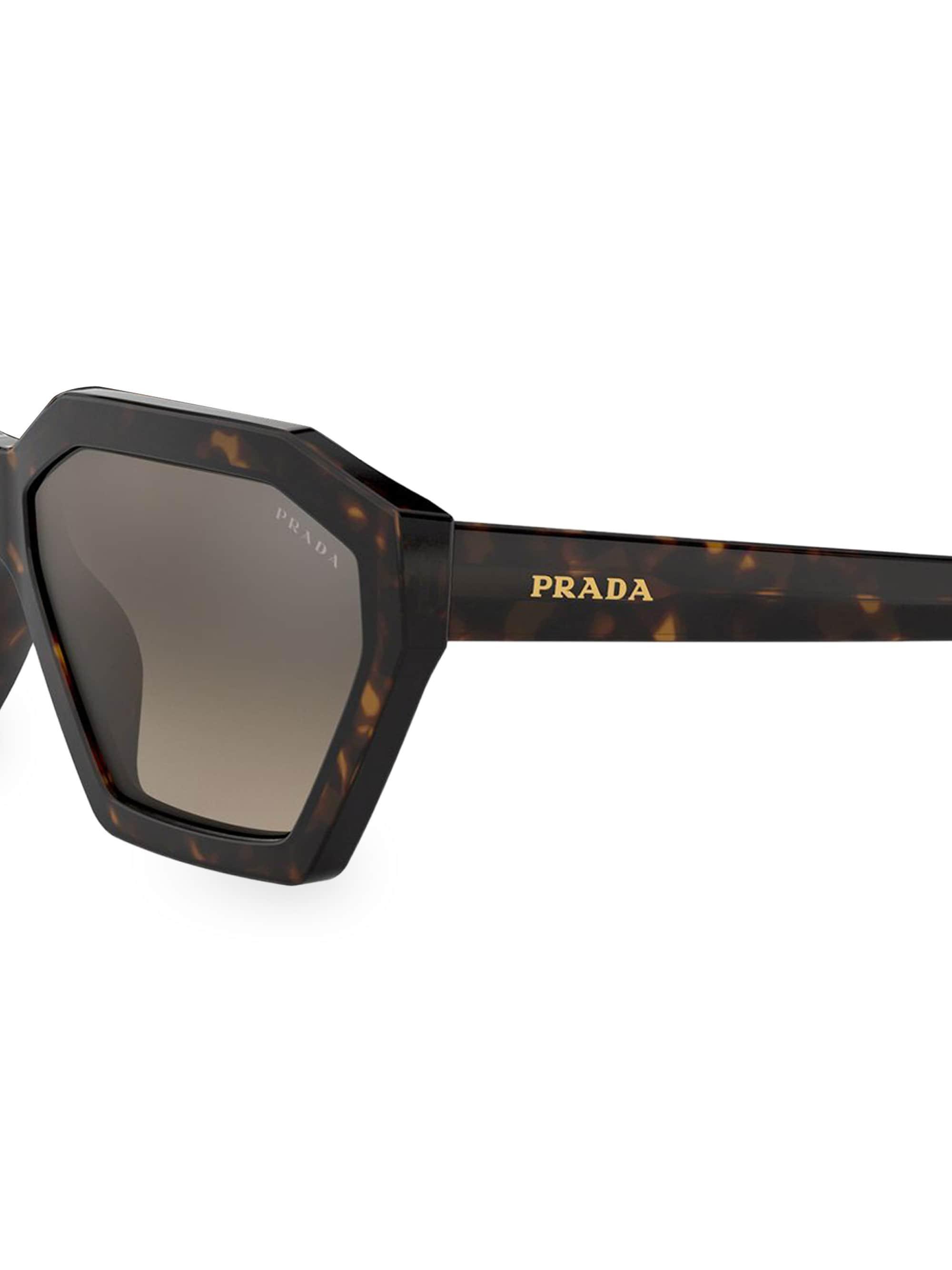 29d7763924528 Lyst - Prada 57mm Hexagon Tortoiseshell Sunglasses in Brown
