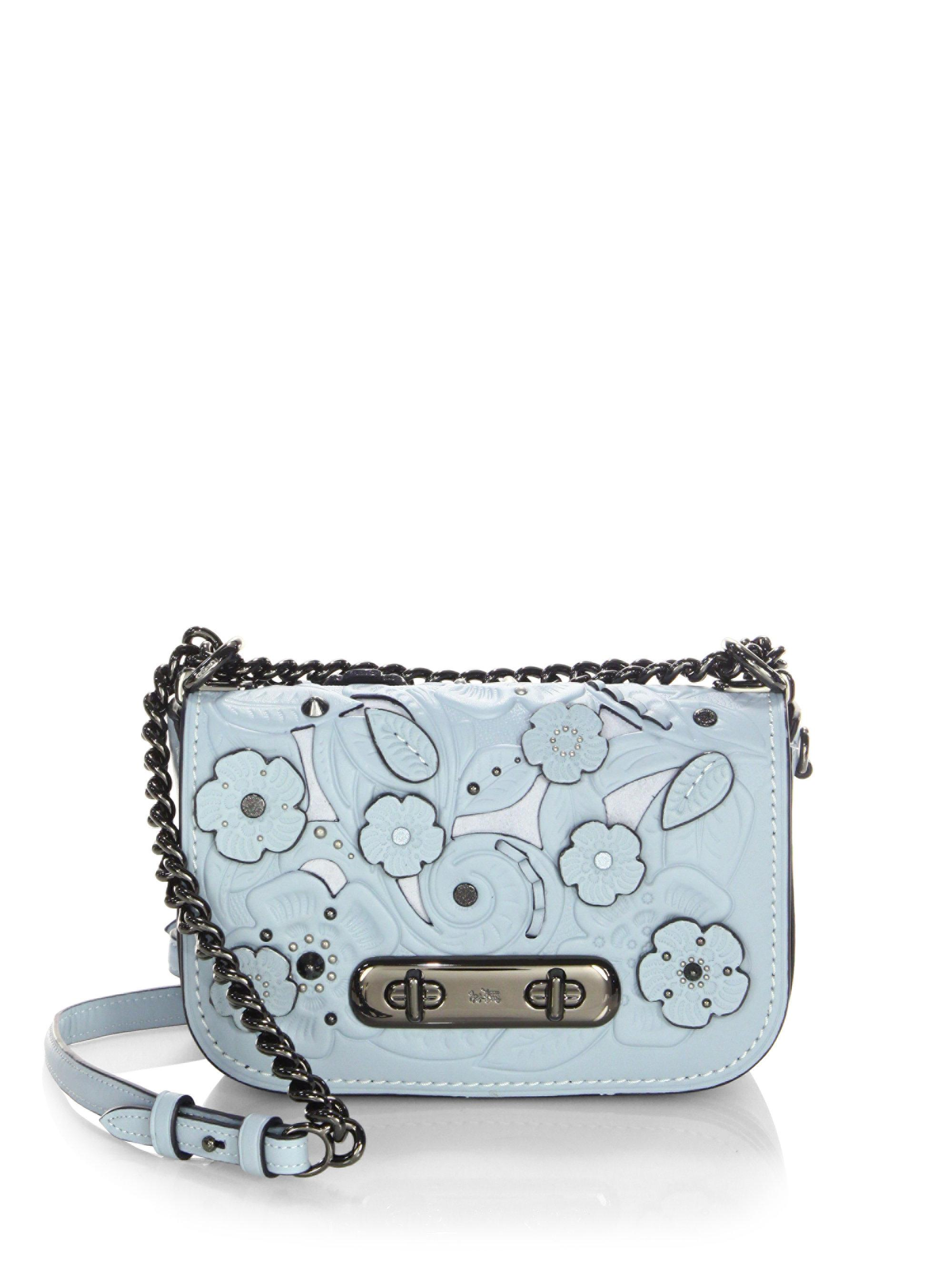 7c3d26d4 COACH Blue Swagger Flower Leather Crossbody Bag
