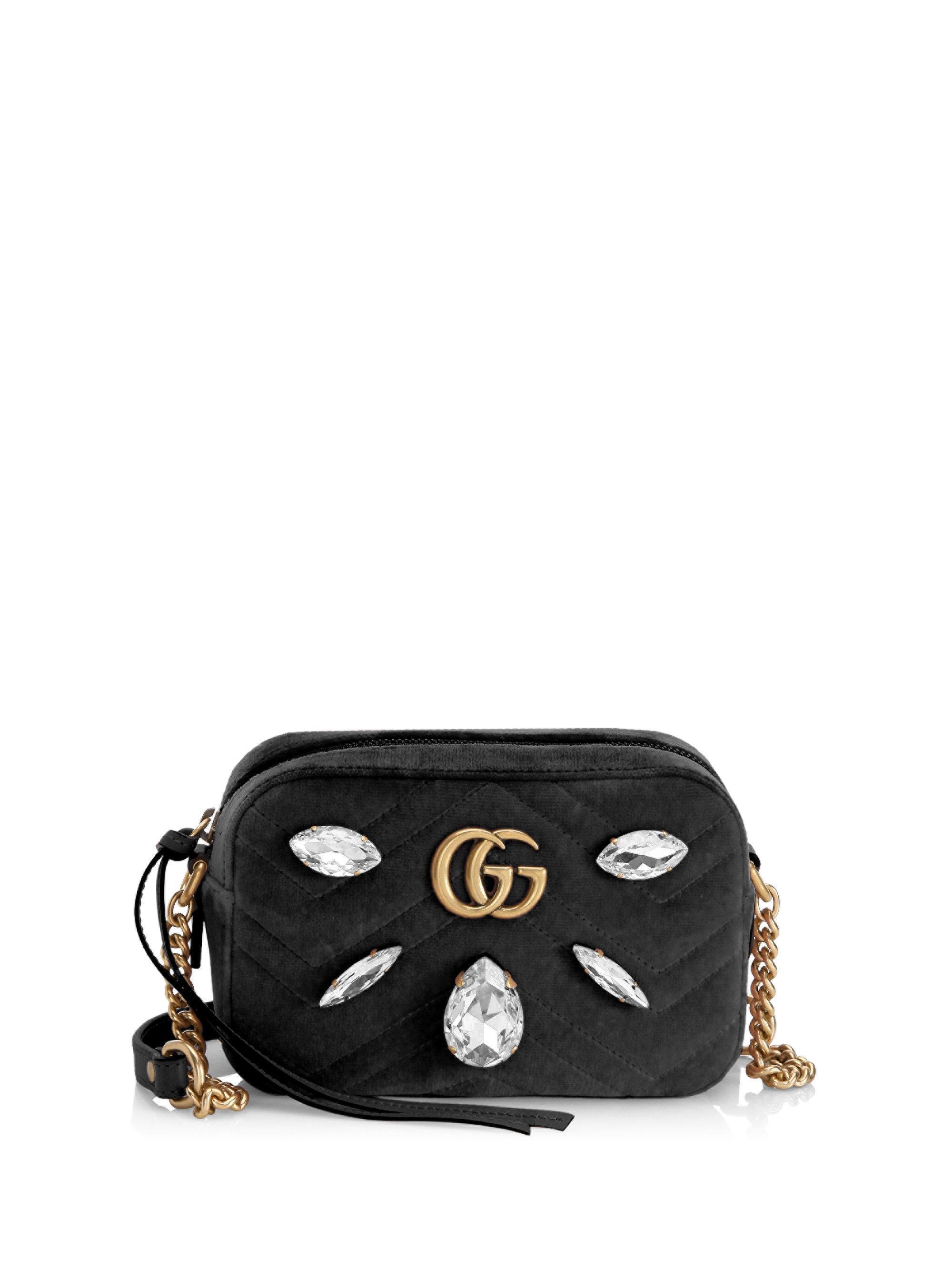0a0c453230d Lyst - Gucci Gg Marmont Velvet Mini Bag in Black