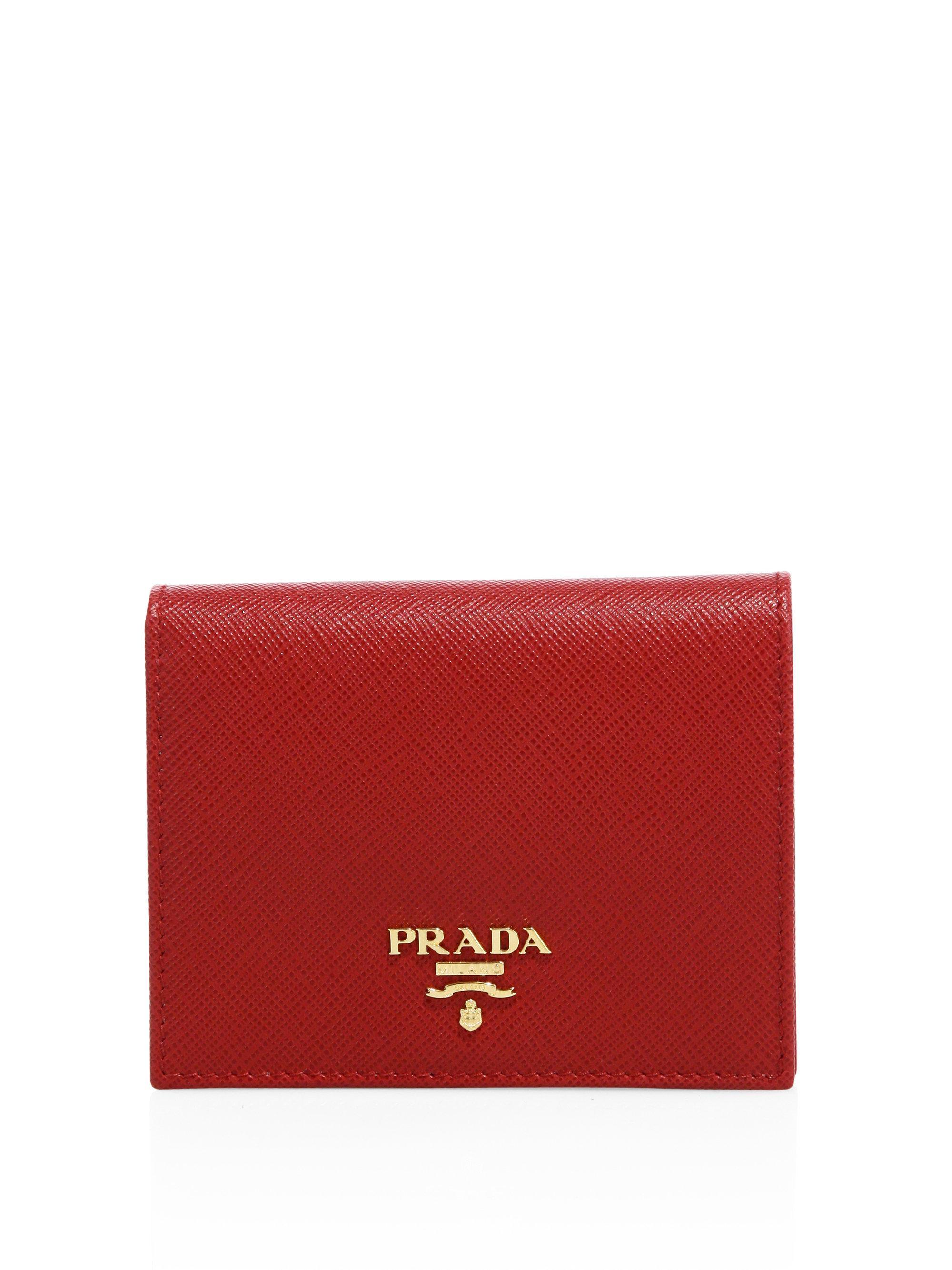 c65867b7e96d Prada Mini Saffiano Leather Bifold Wallet in Red - Lyst