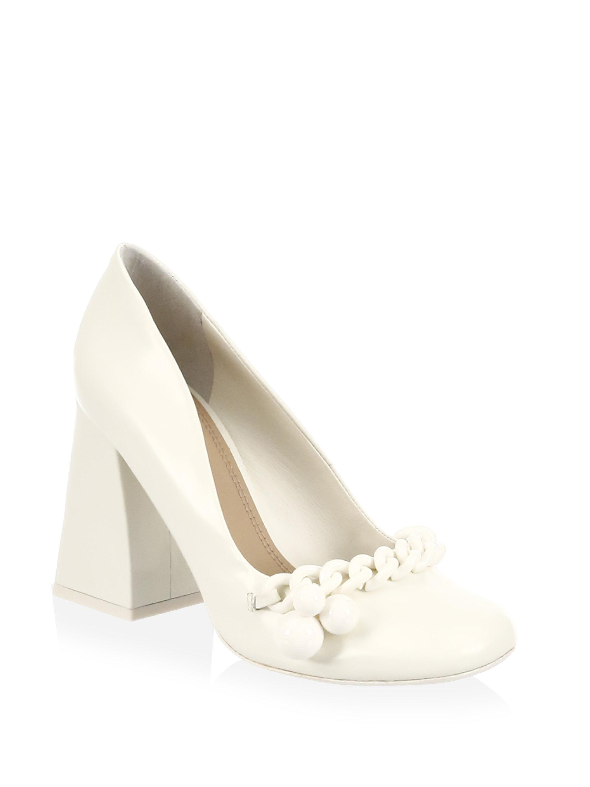 f592389211c00 Lyst - Tory Burch Addison Leather Pumps in White