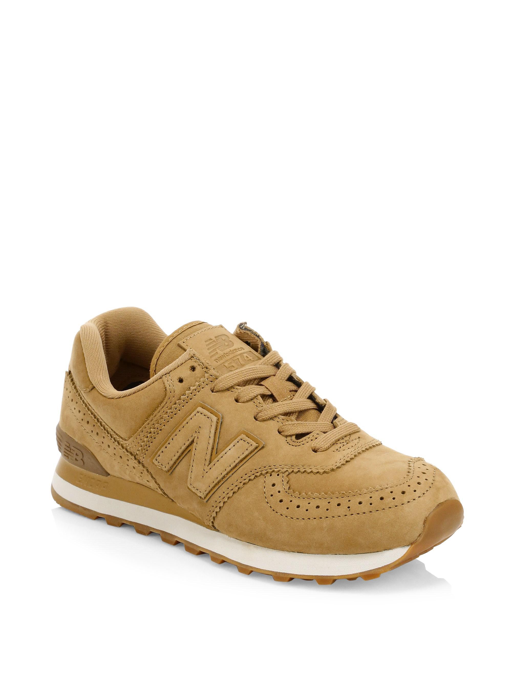 premium selection d47b7 d22ba New Balance Brown 574 Suede Brogue Sneakers for men