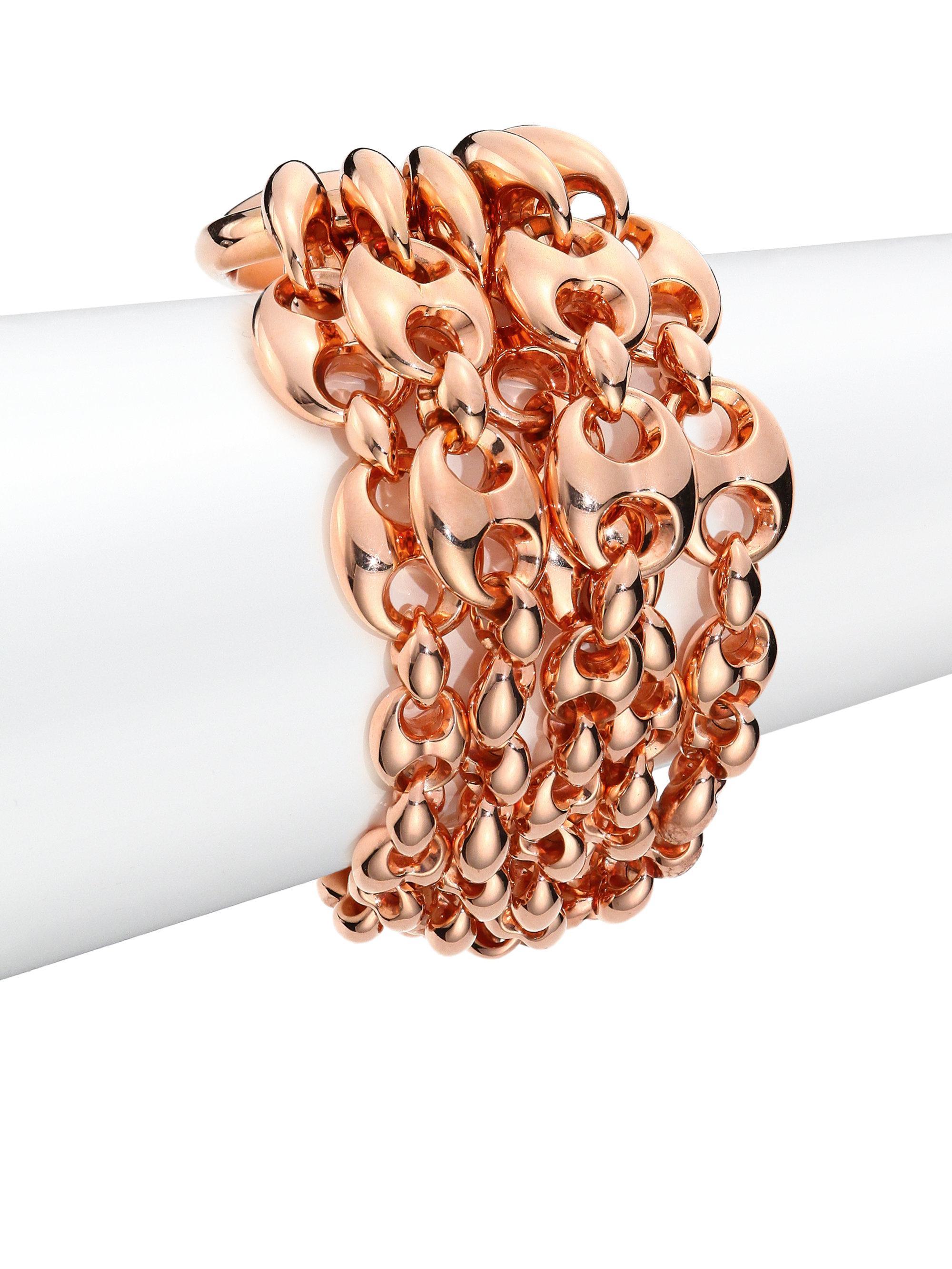 Gucci Women S Pink Marina Chain 18k Rose Gold Link Bracelet