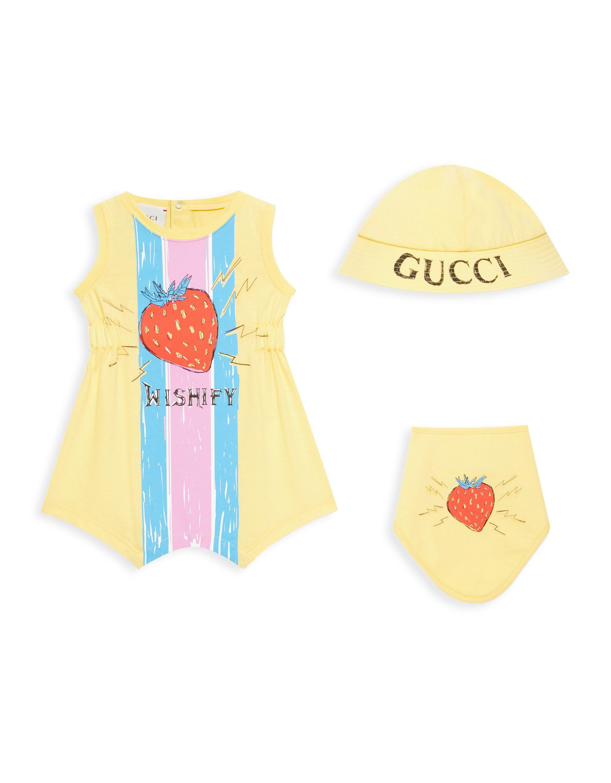 5305ad9ee Gucci Multicolor Baby Girl's Romper, Strawberry Hat & Bib Set - Limon Multi