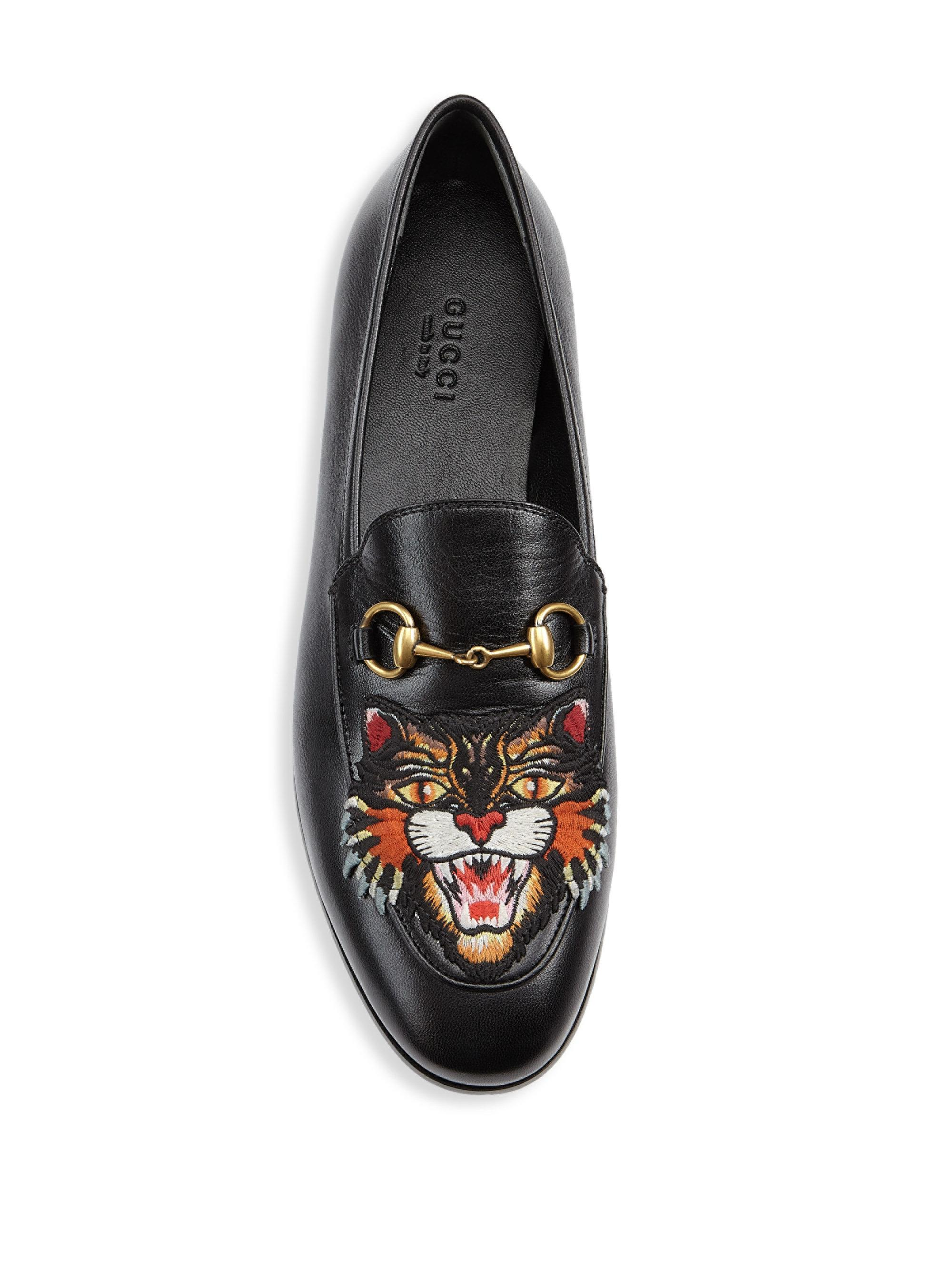 059a9252ee9 Lyst - Gucci Jordaan Leather Loafers With Angry Cat in Black