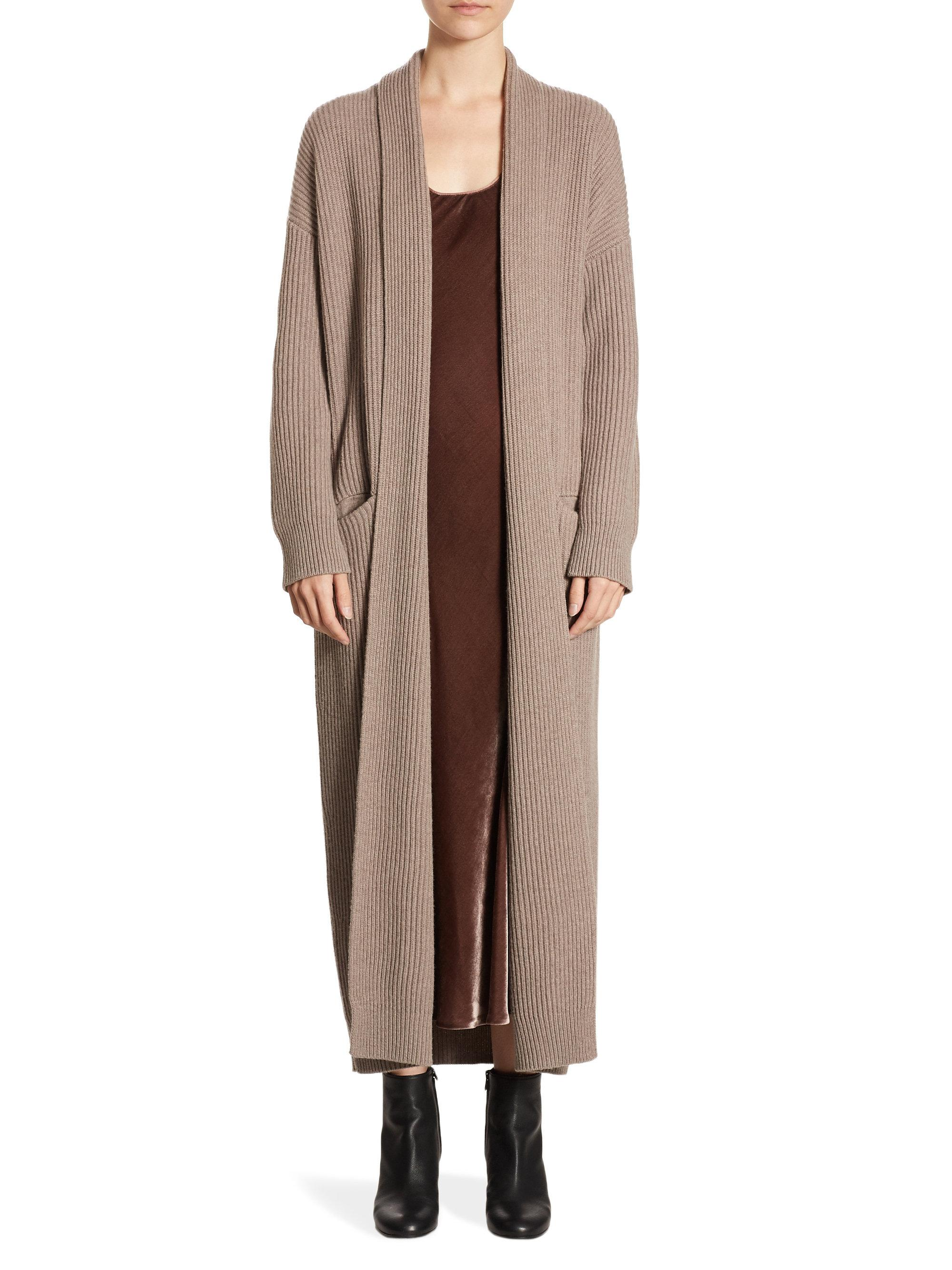 Vince open front sweater robe in brown lyst for Saks 5th avenue robes de mariage
